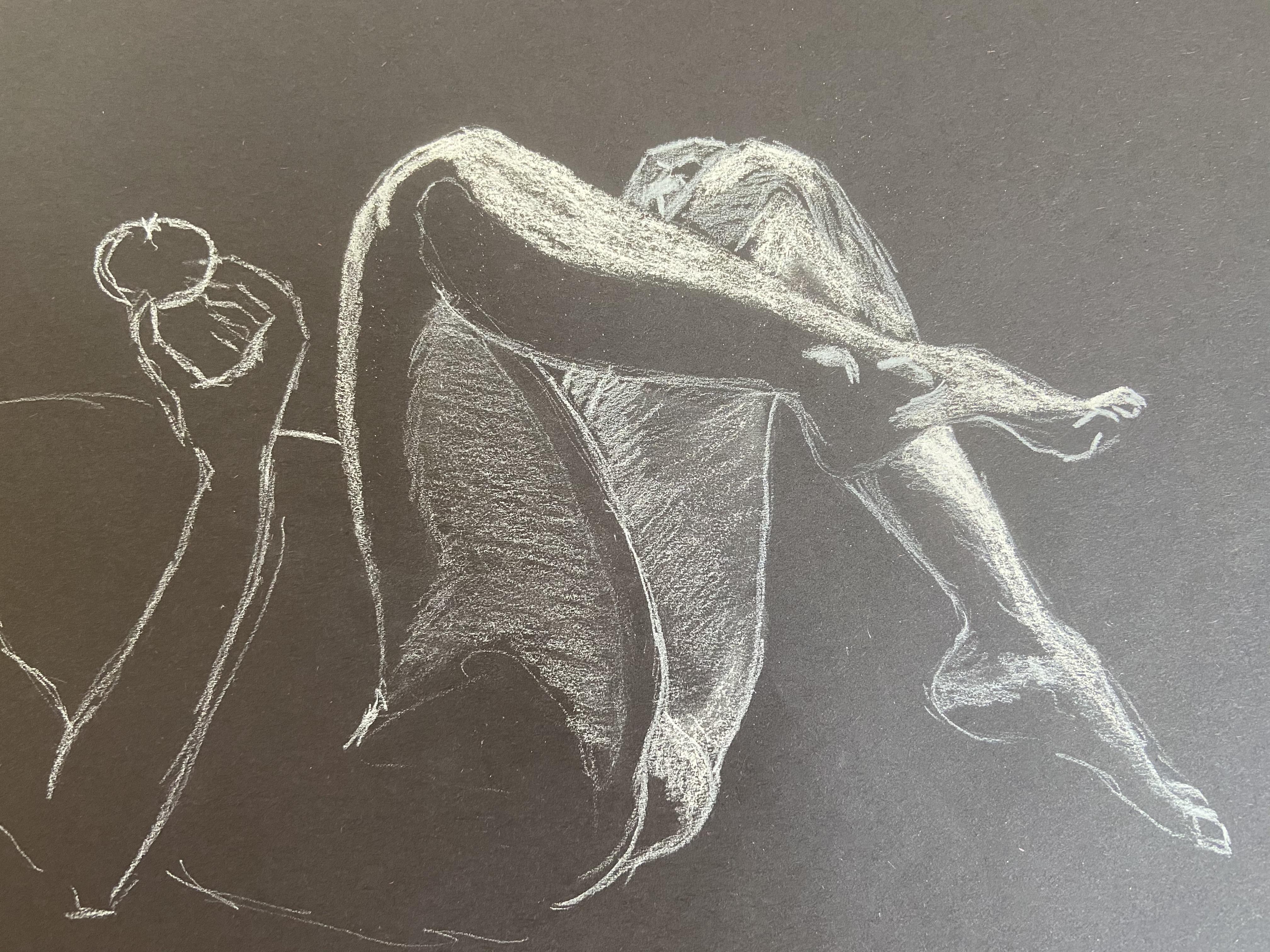 Dessin craie blanche sur papier noir  cours de dessin