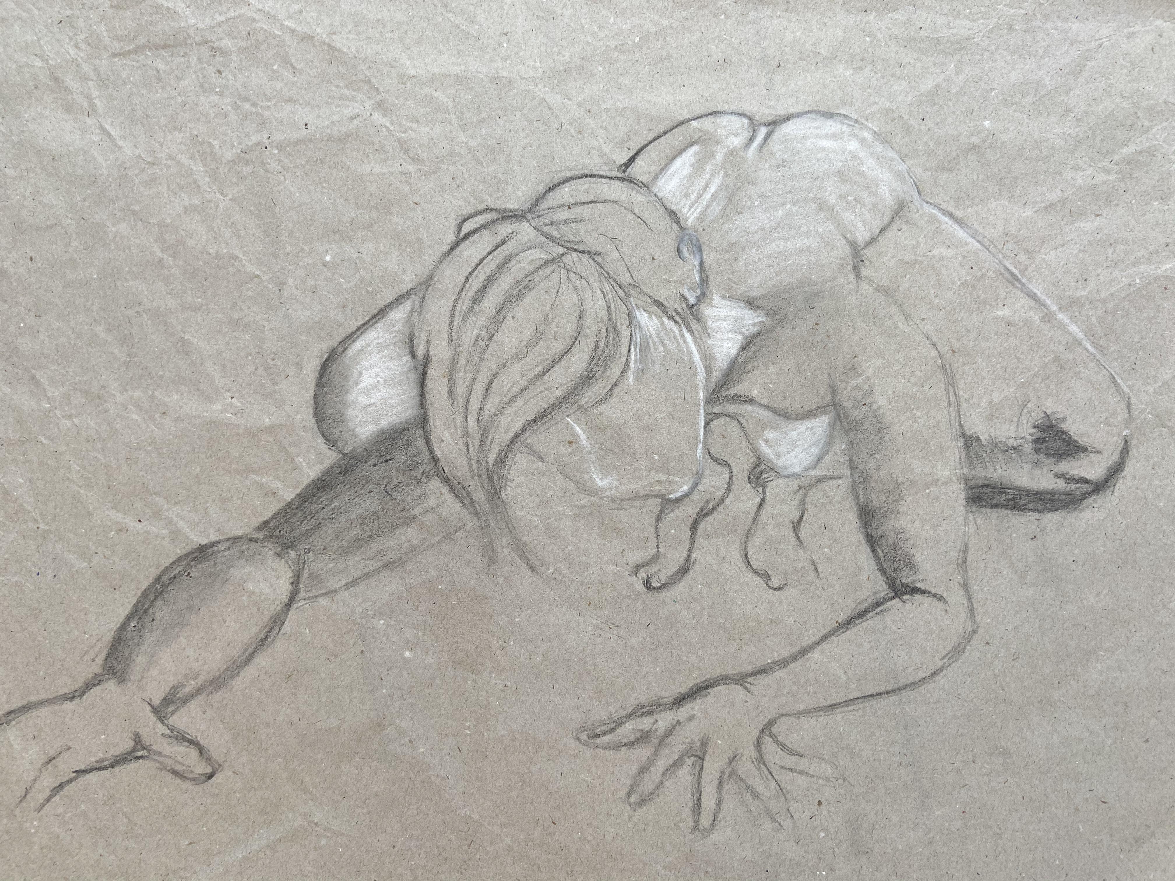 Poses en raccourci dessin au fusain et � la craie blanche  cours de dessin