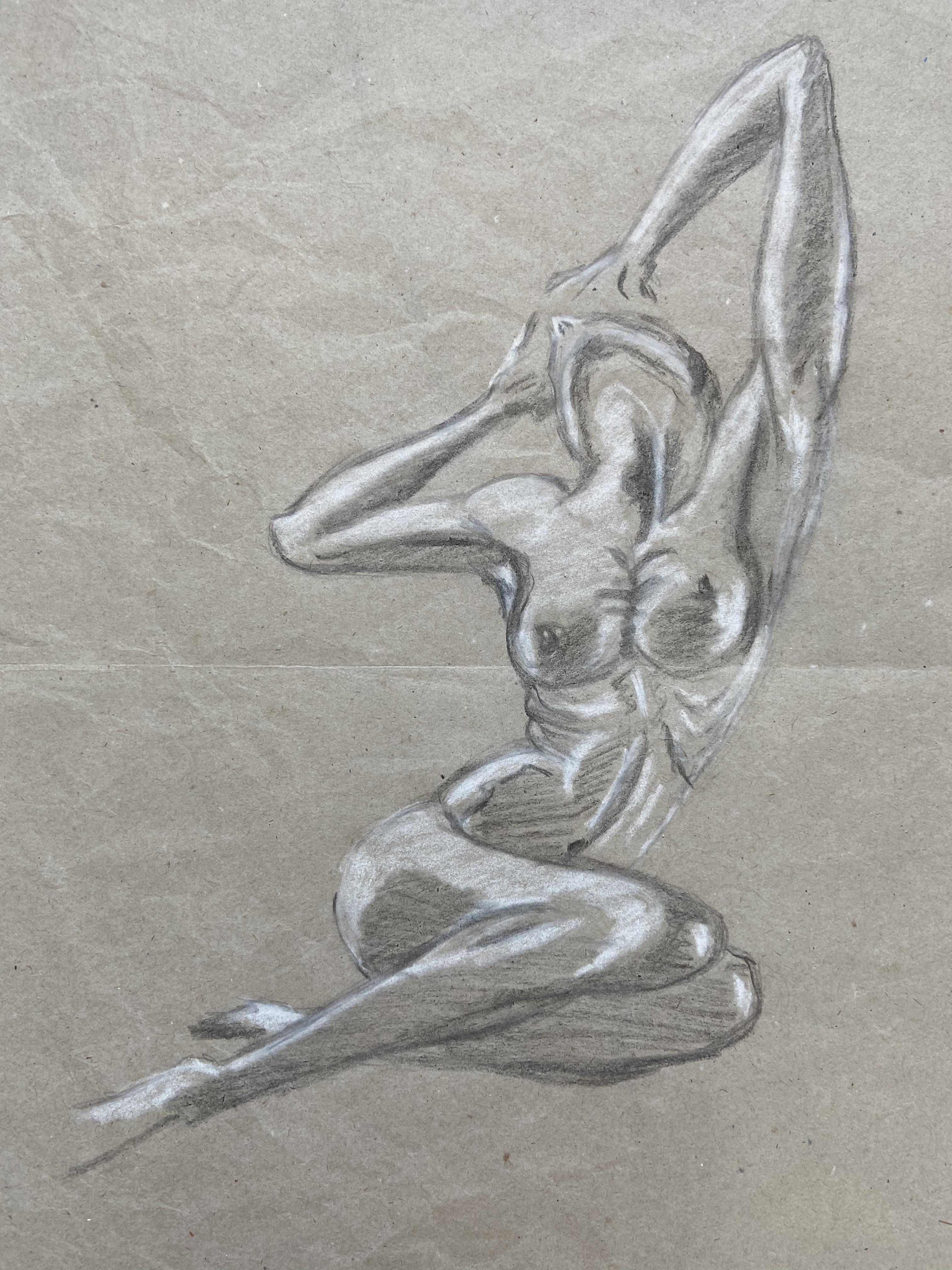 Mod�le vivant crayon noir et crayon blanc sur papier recycl� dessin  cours de dessin