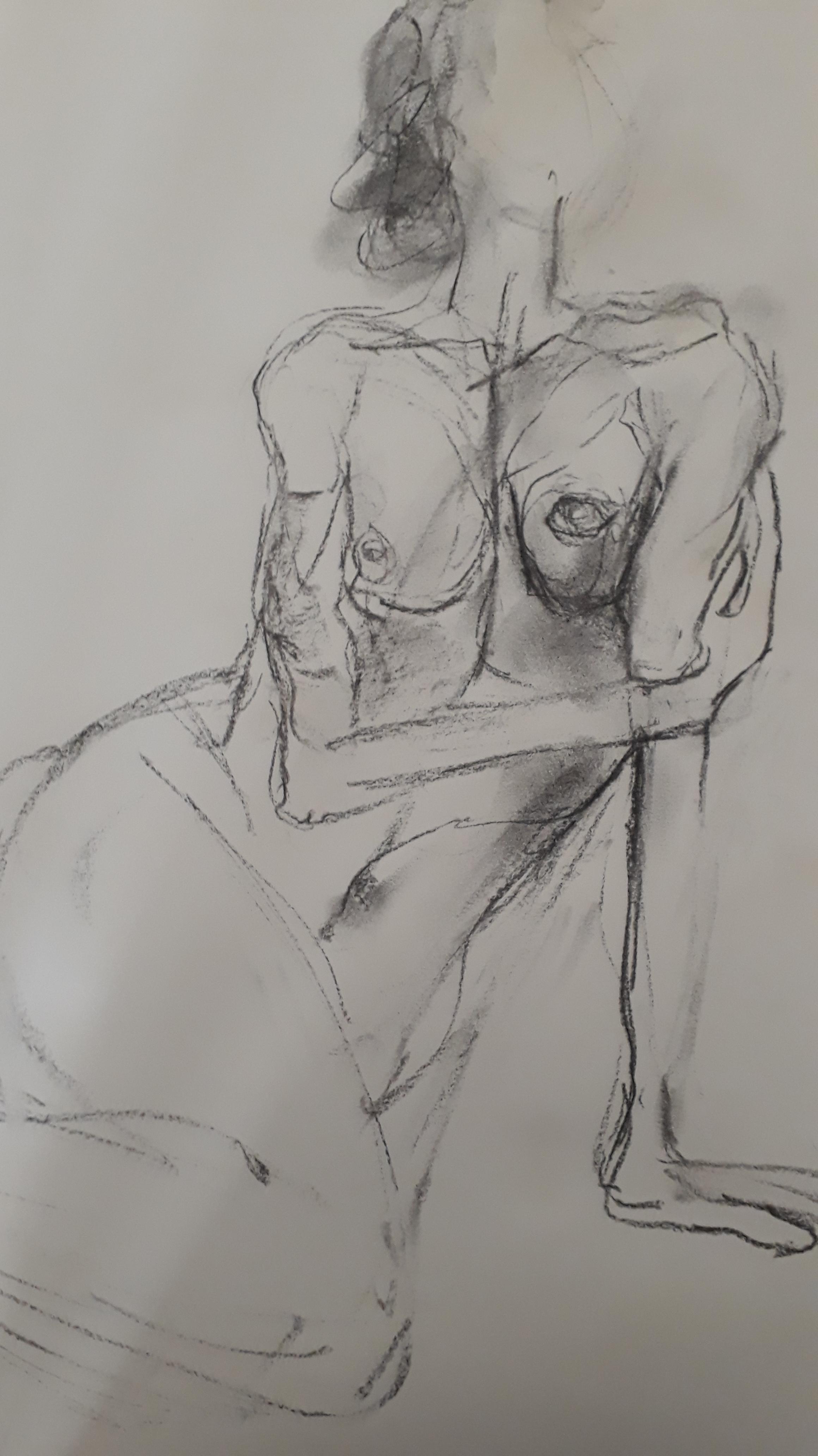 �bauche fusain torse femme croquis  cours de dessin