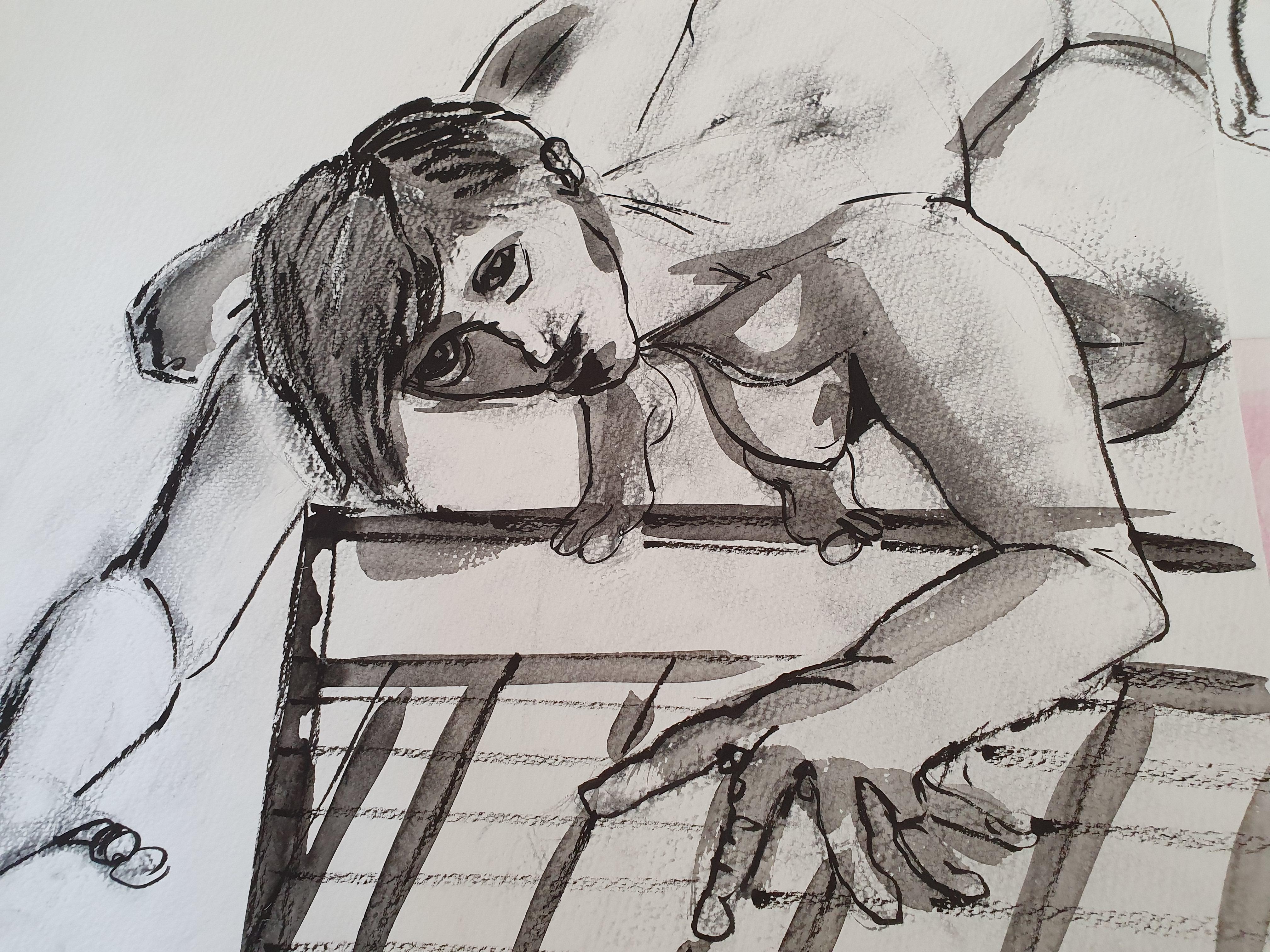 Encre de Chine et au fusain sur papier croquis raccourci  cours de dessin