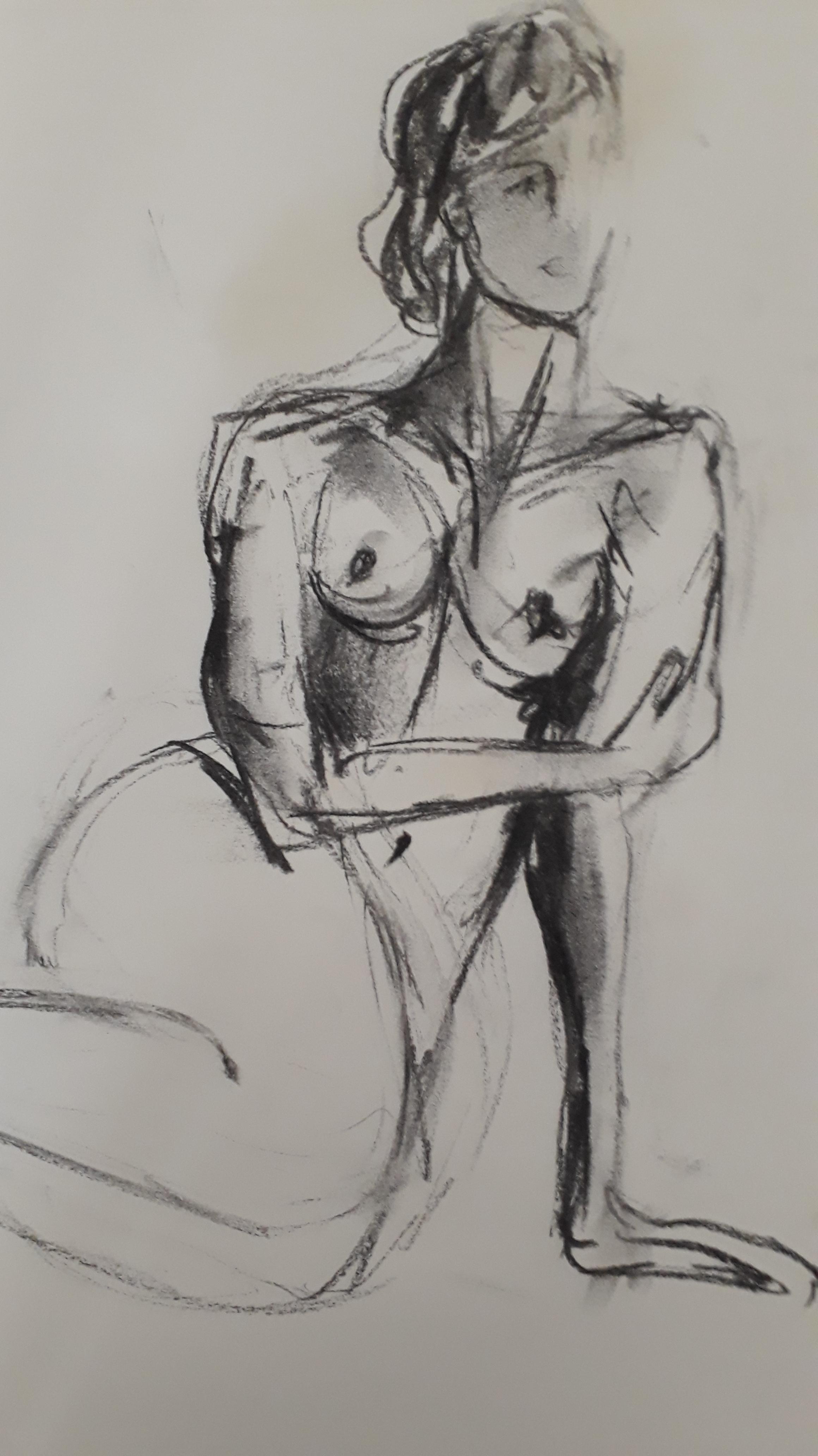 Fusain sur papier mod�le Assise femme Dessin  cours de dessin