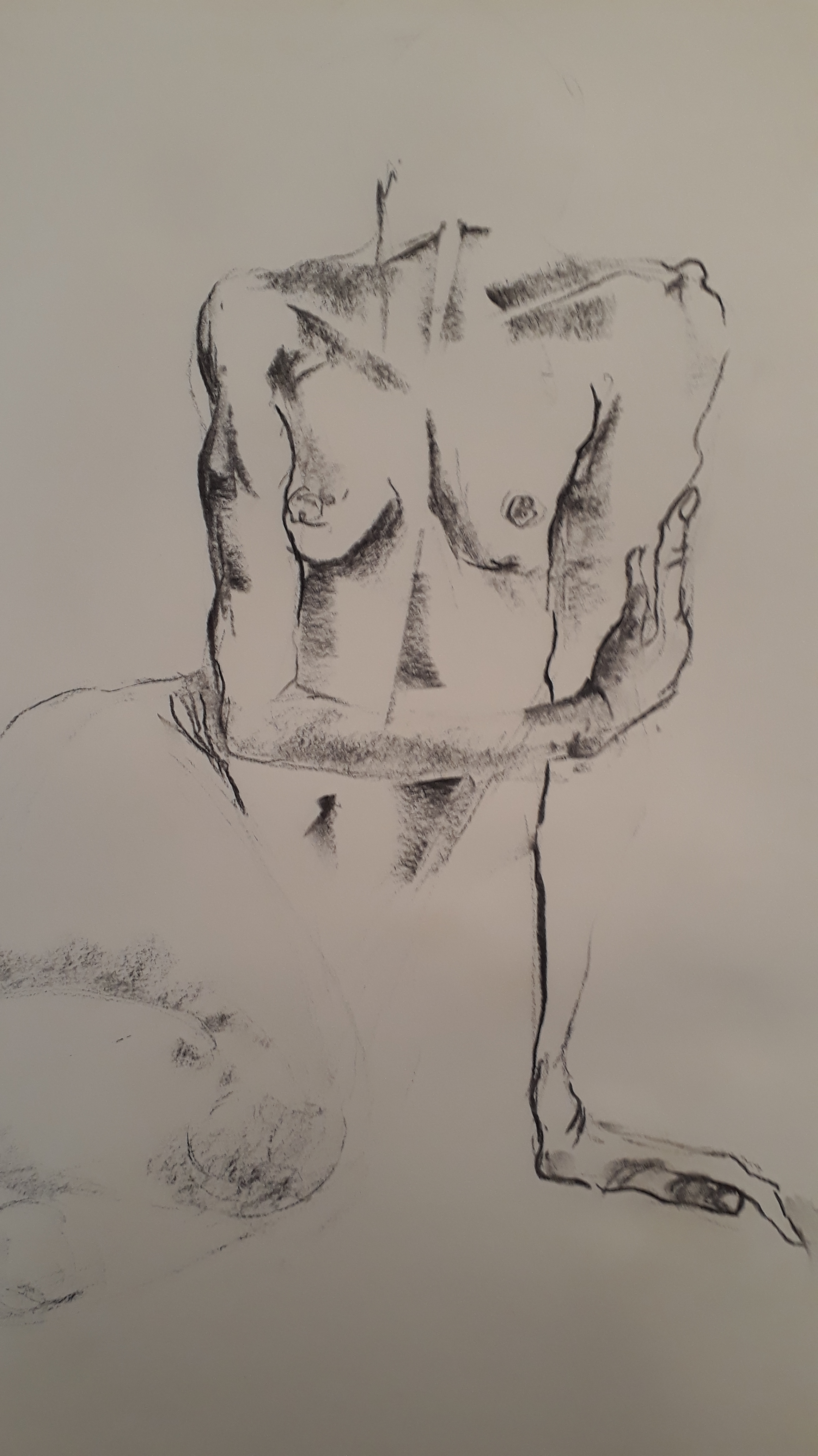 Torse fusain corps femme  cours de dessin