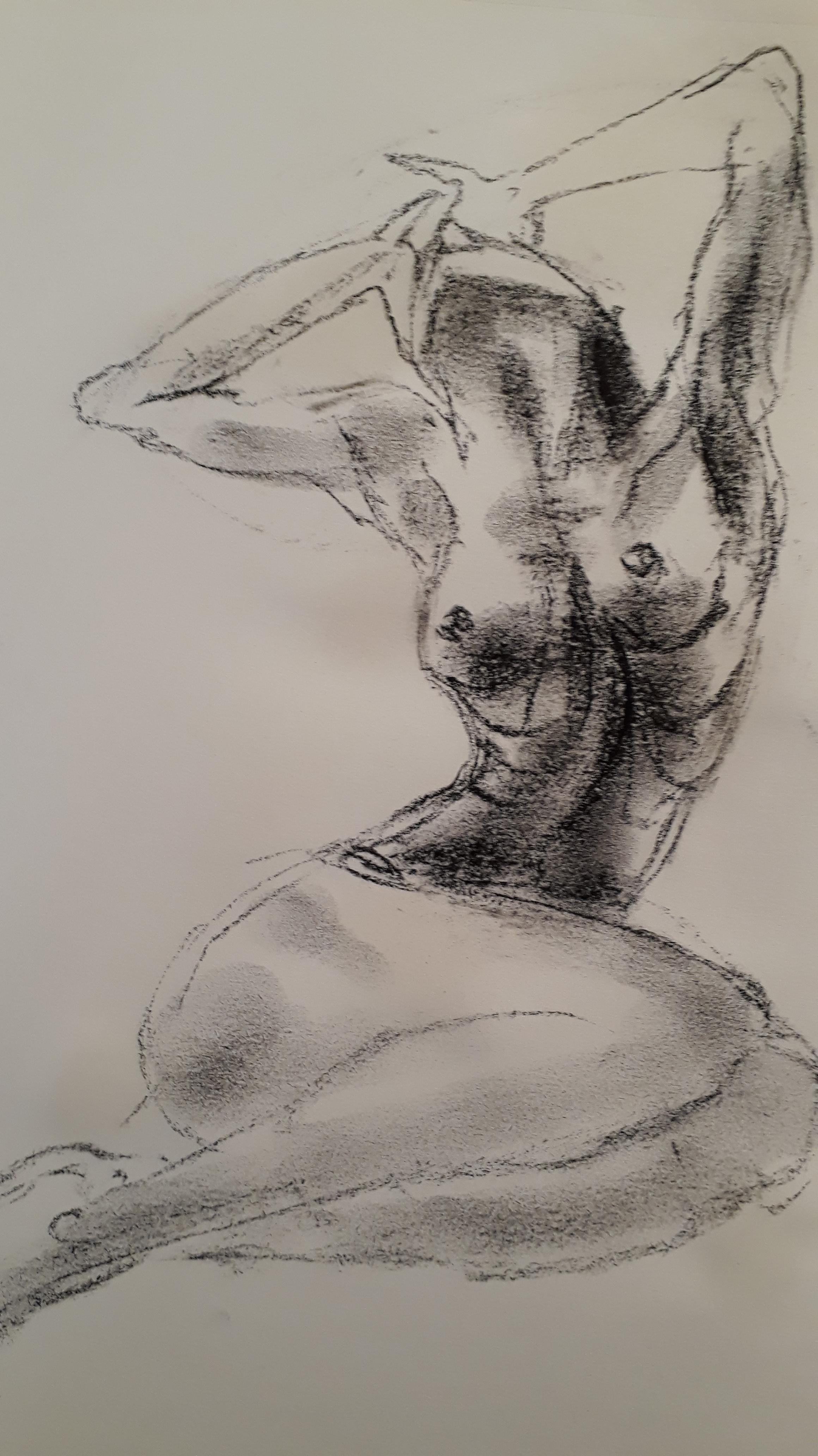 Mod�le vivant fusain sur papier croquis  cours de dessin