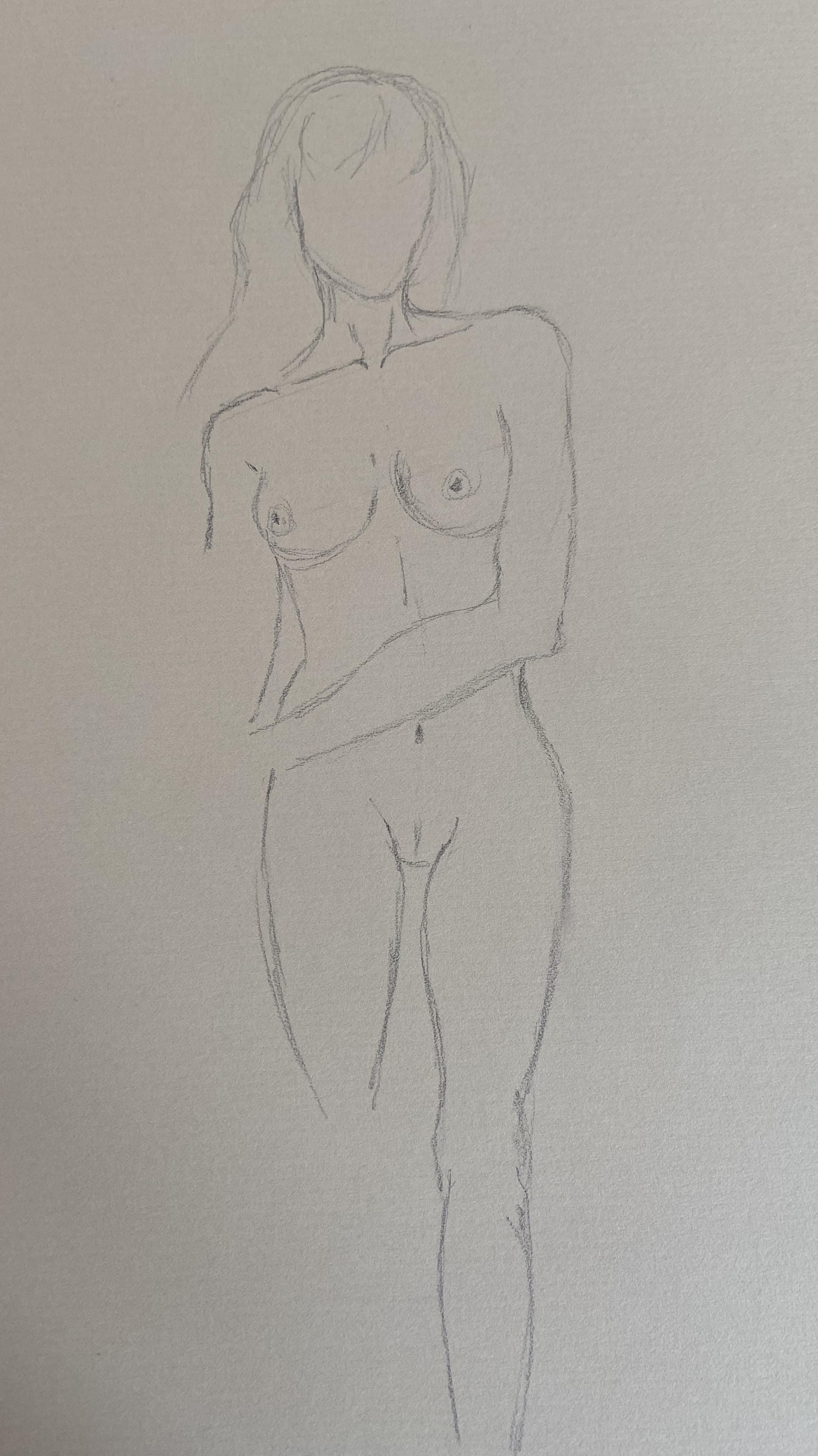 �bauche mod�le debout d�hanch�  cours de dessin