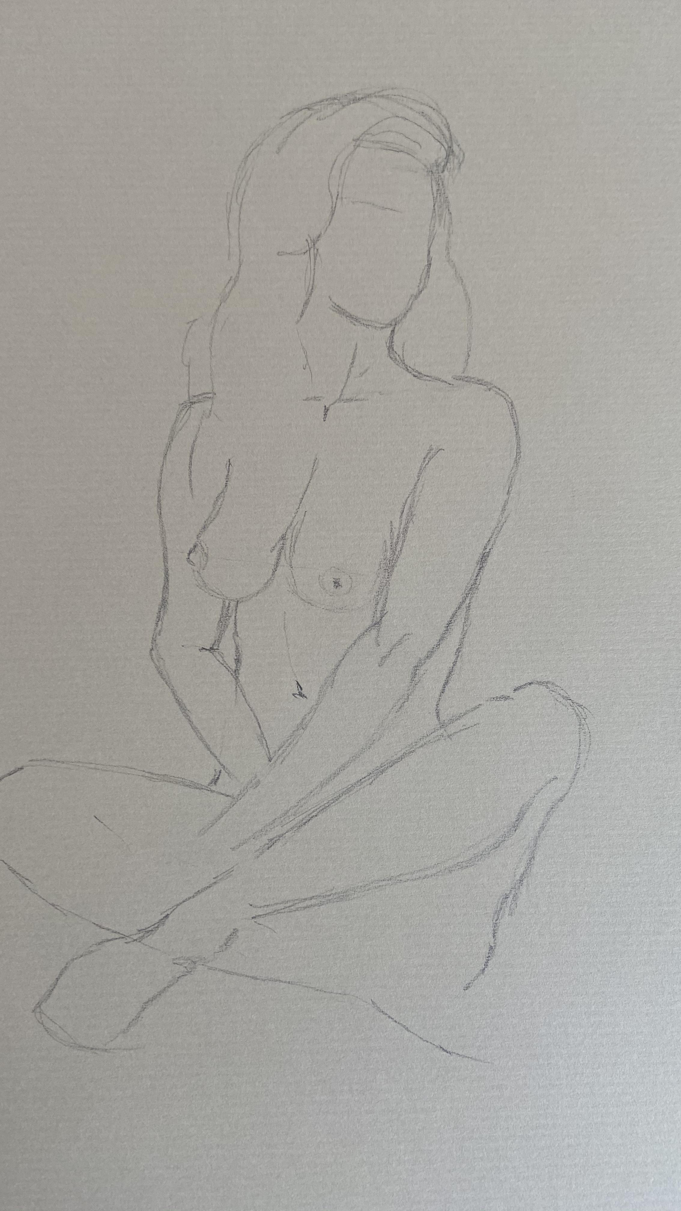 Dessin au trait  graphite mod�le assis  cours de dessin