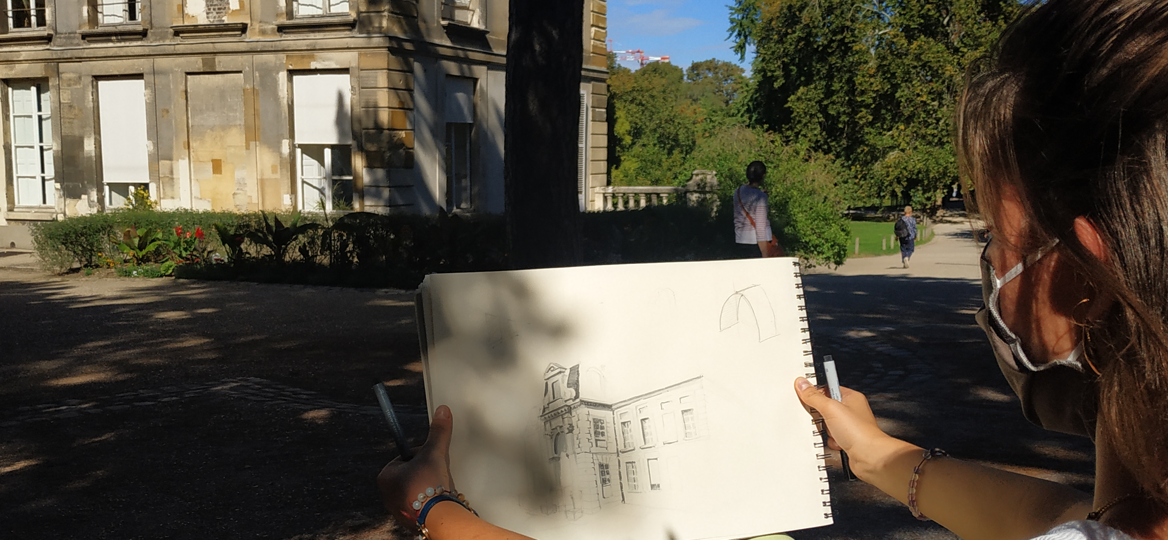Dessin d'architecture perspectives Jardin des Plantes Paris  cours de dessin
