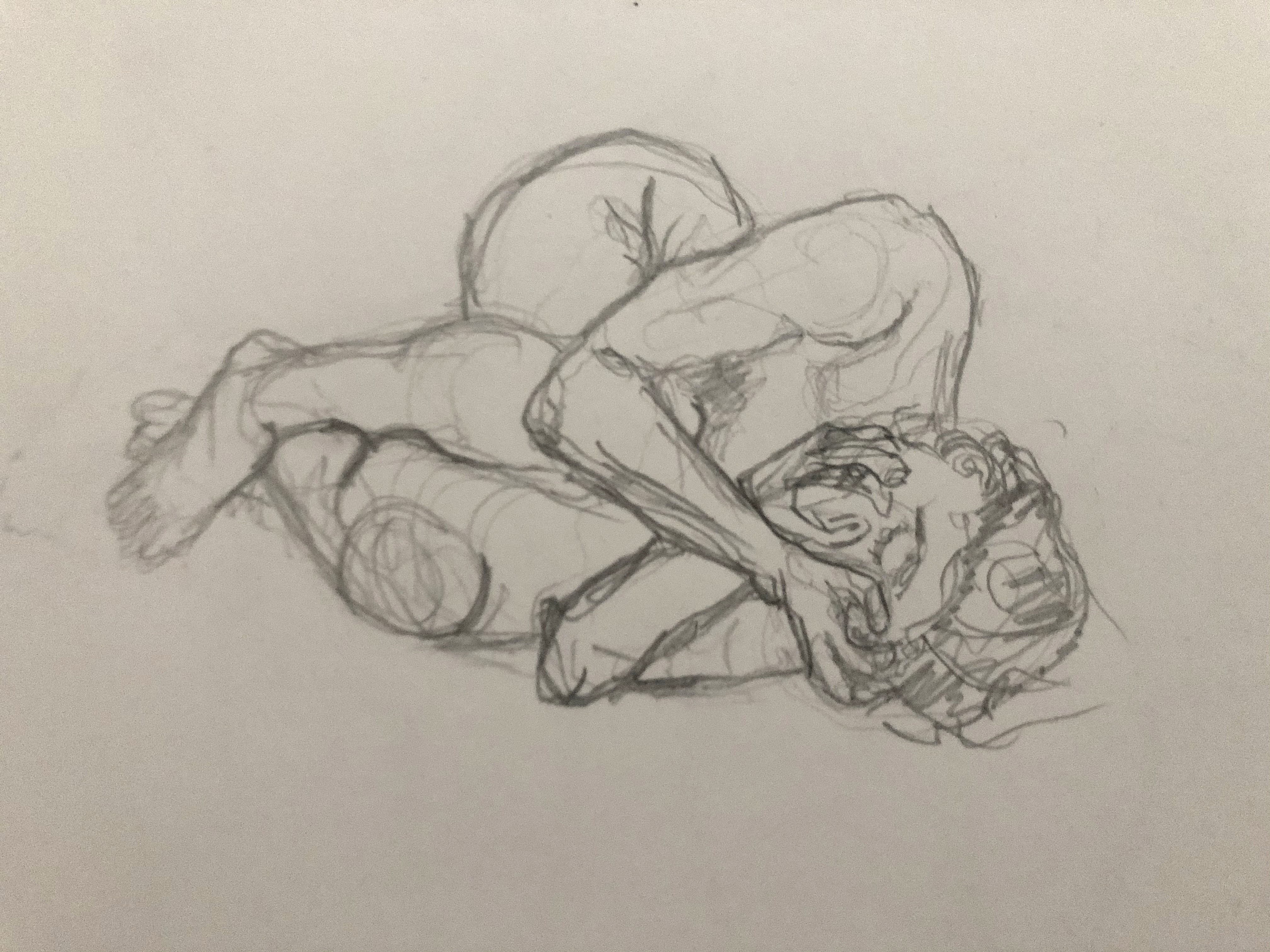 Dessin mod�le vivant allong� graphite pose regrouper  cours de dessin