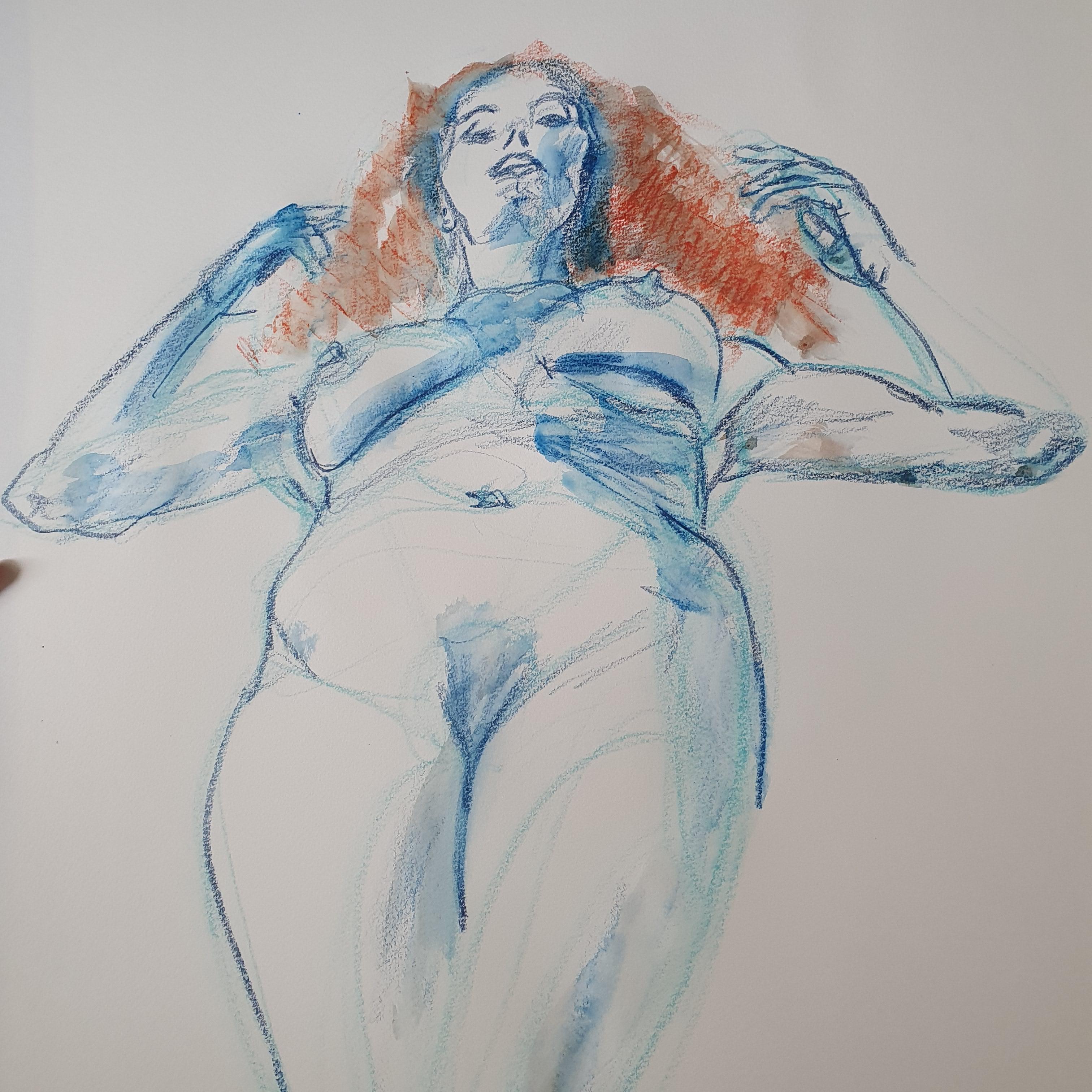 Mod�le vivant dessin bleu aquarelle rouge  cours de dessin