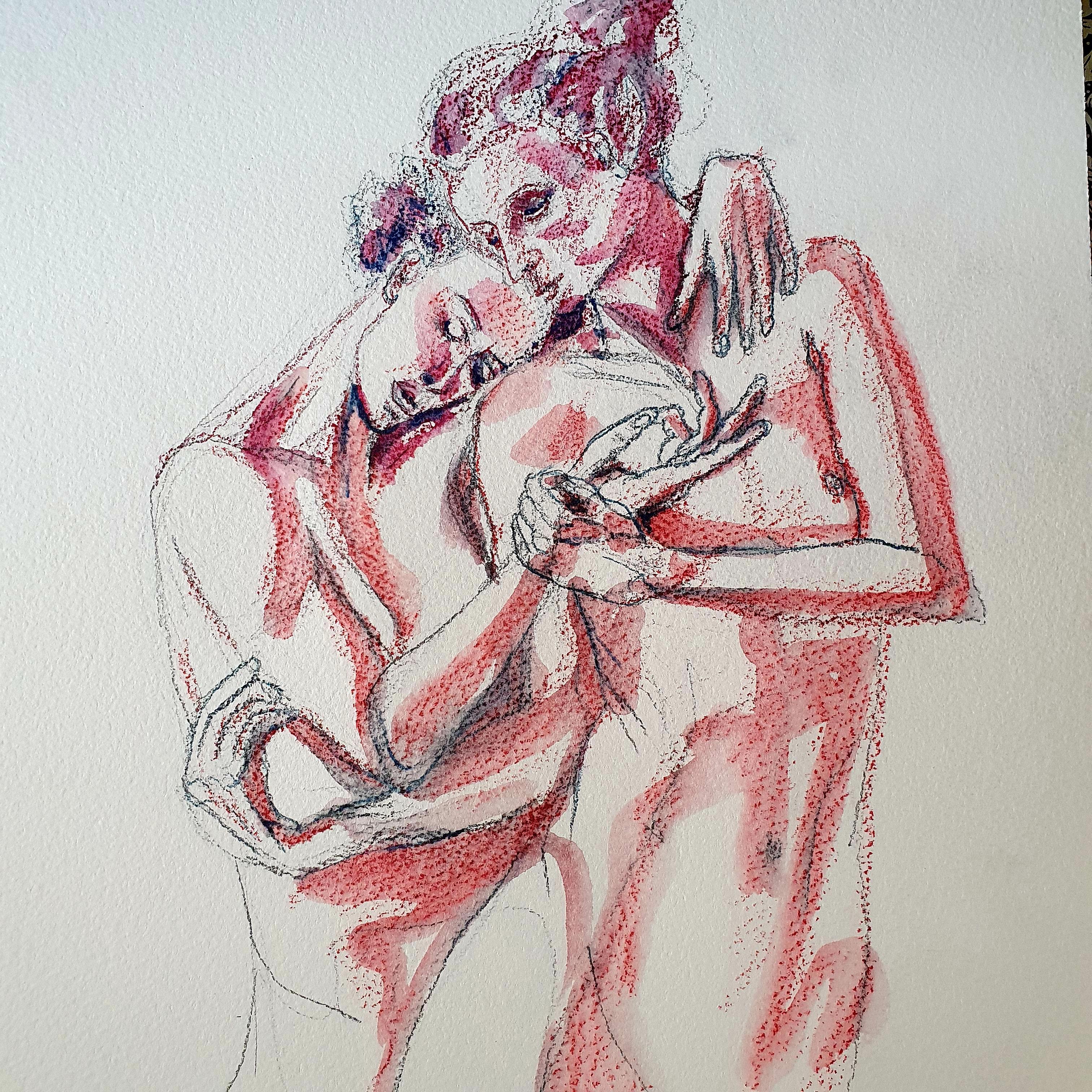 Dessin crayon de couleur aquarell� violet et rouge  cours de dessin
