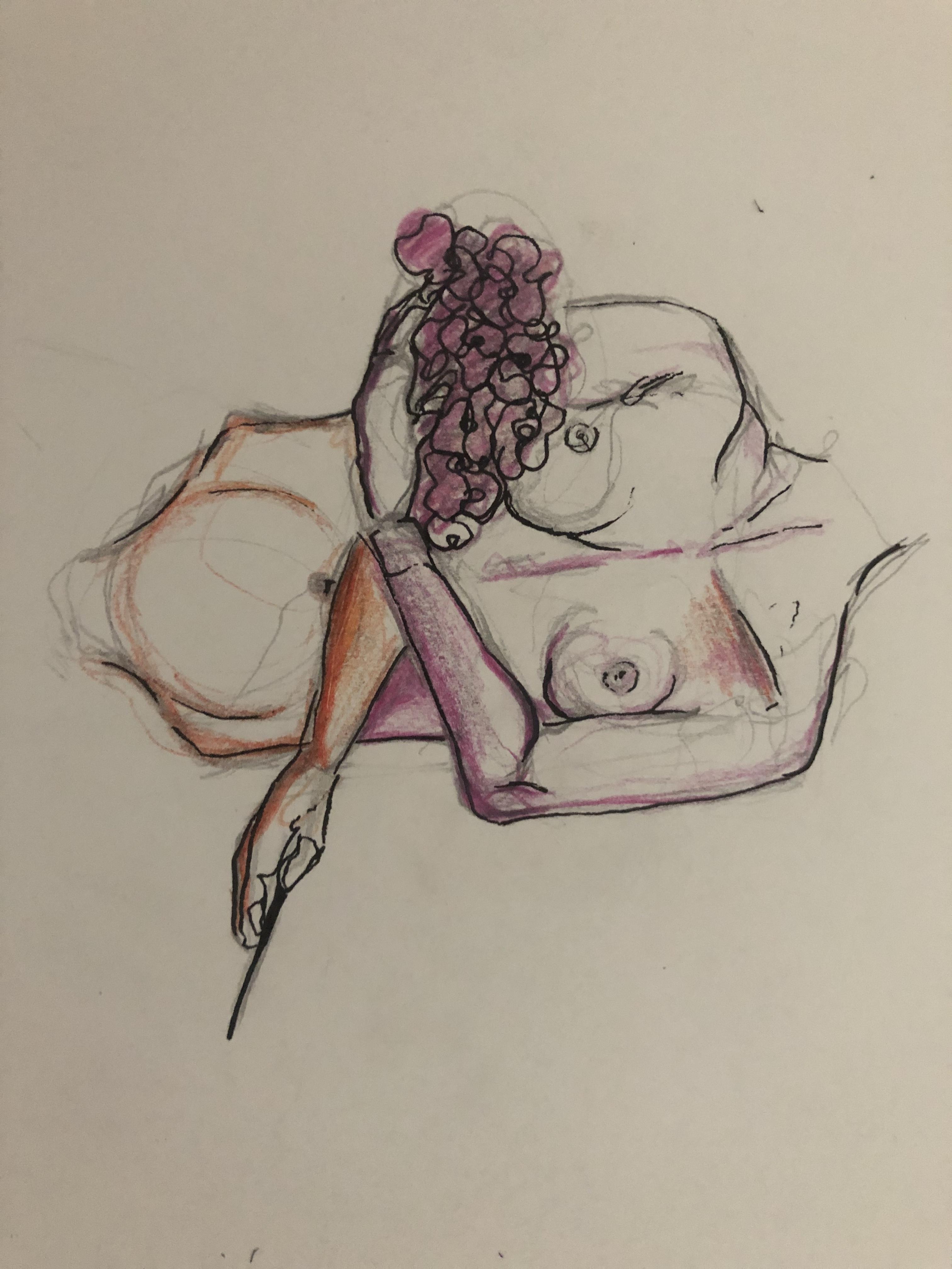 Buste femme bouquet de fleurs dessin  cours de dessin