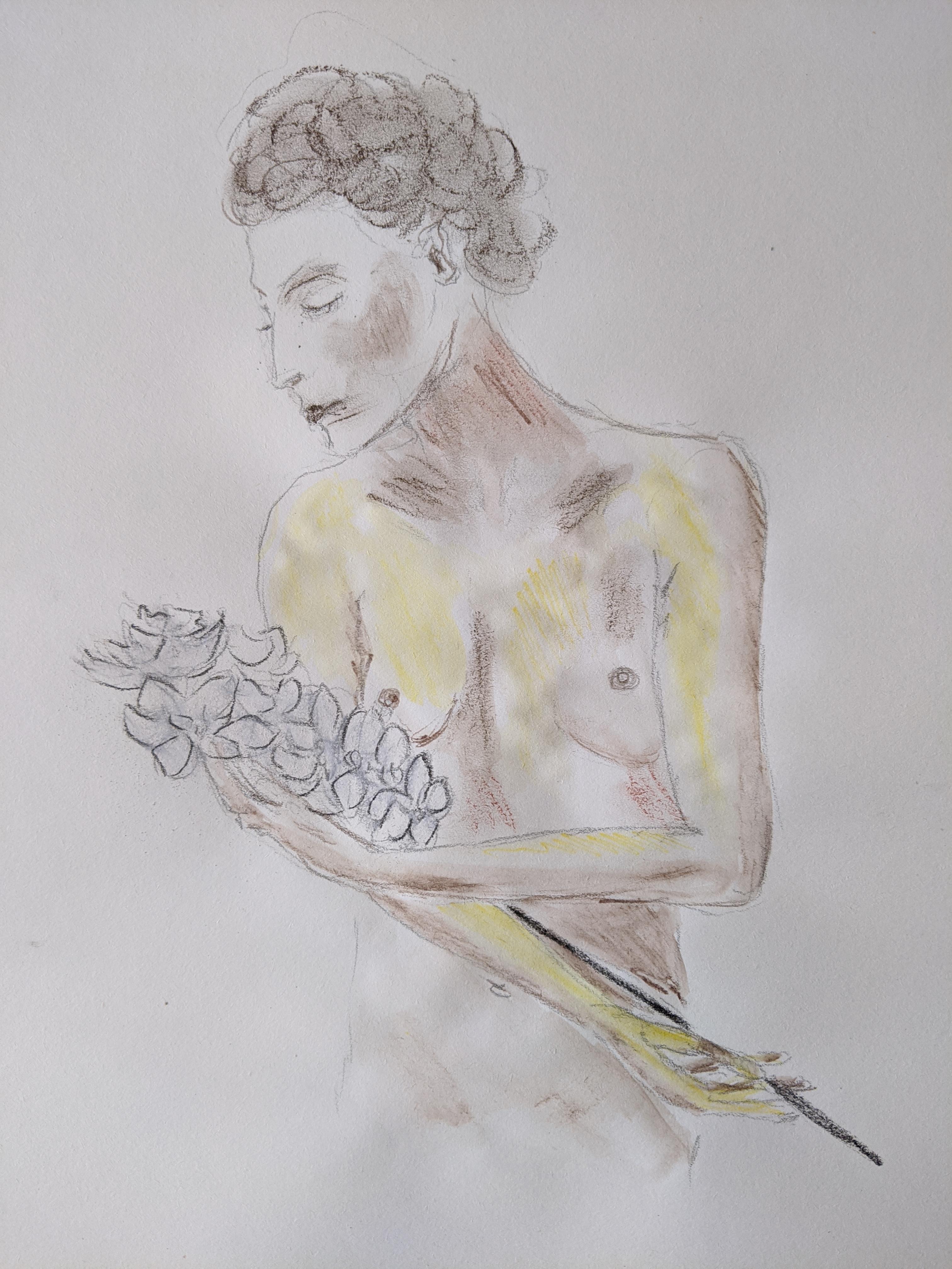 Croquis modèle vivant bouquet de fleurs  cours de dessin