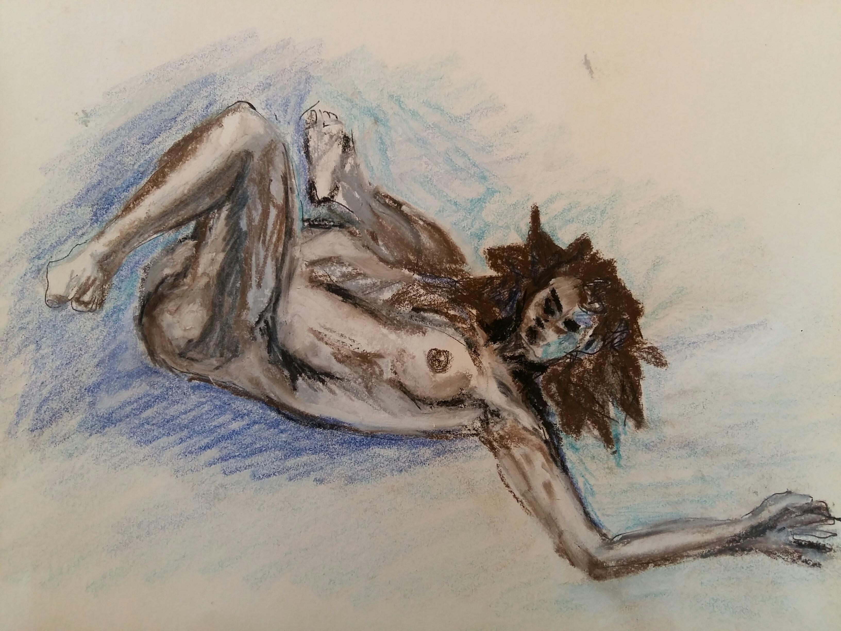 Pastel bleu et marron sur papier dessin  cours de dessin