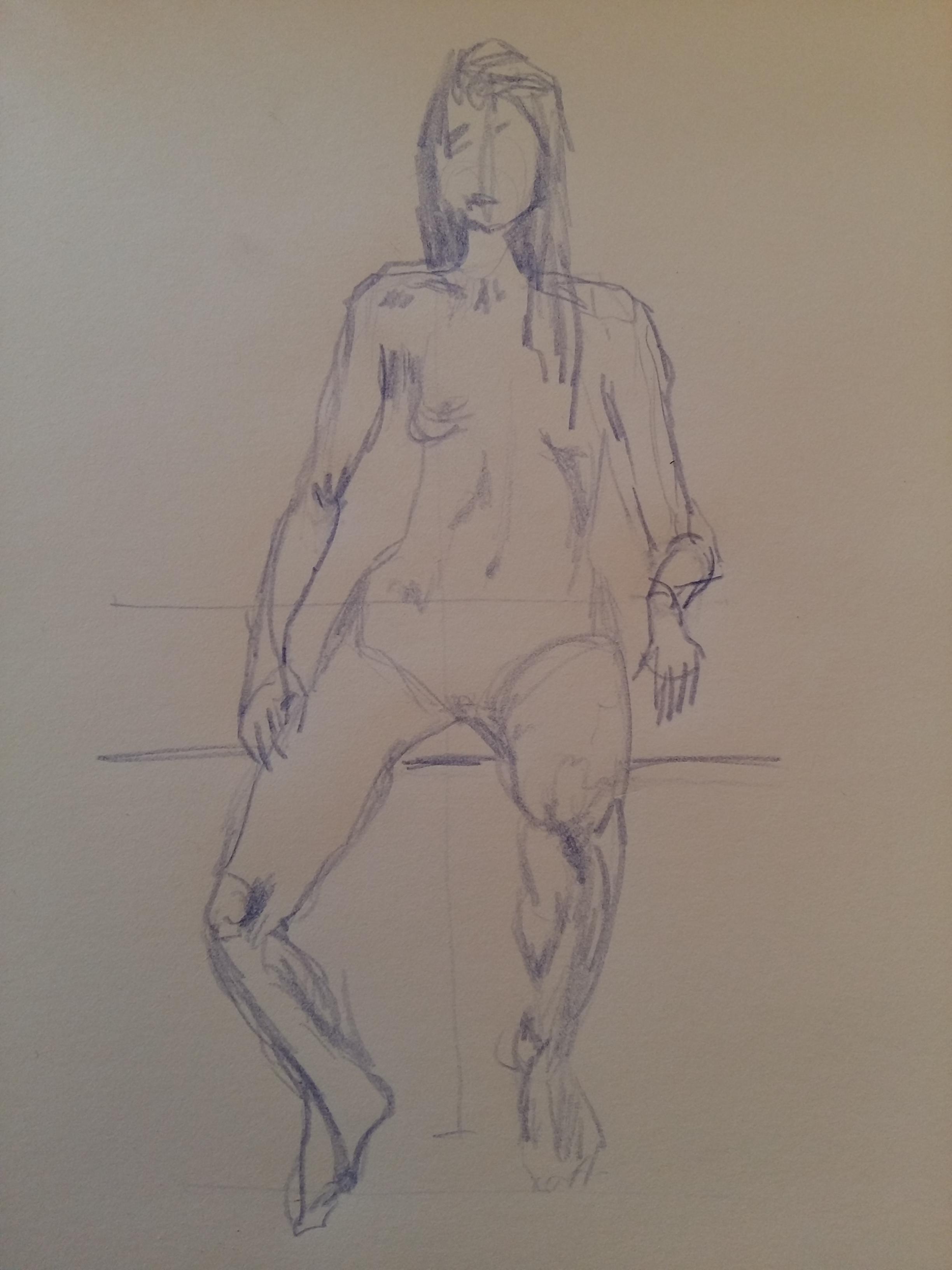 Crayon de couleur bleue mod�le vivant assis dessin  cours de dessin