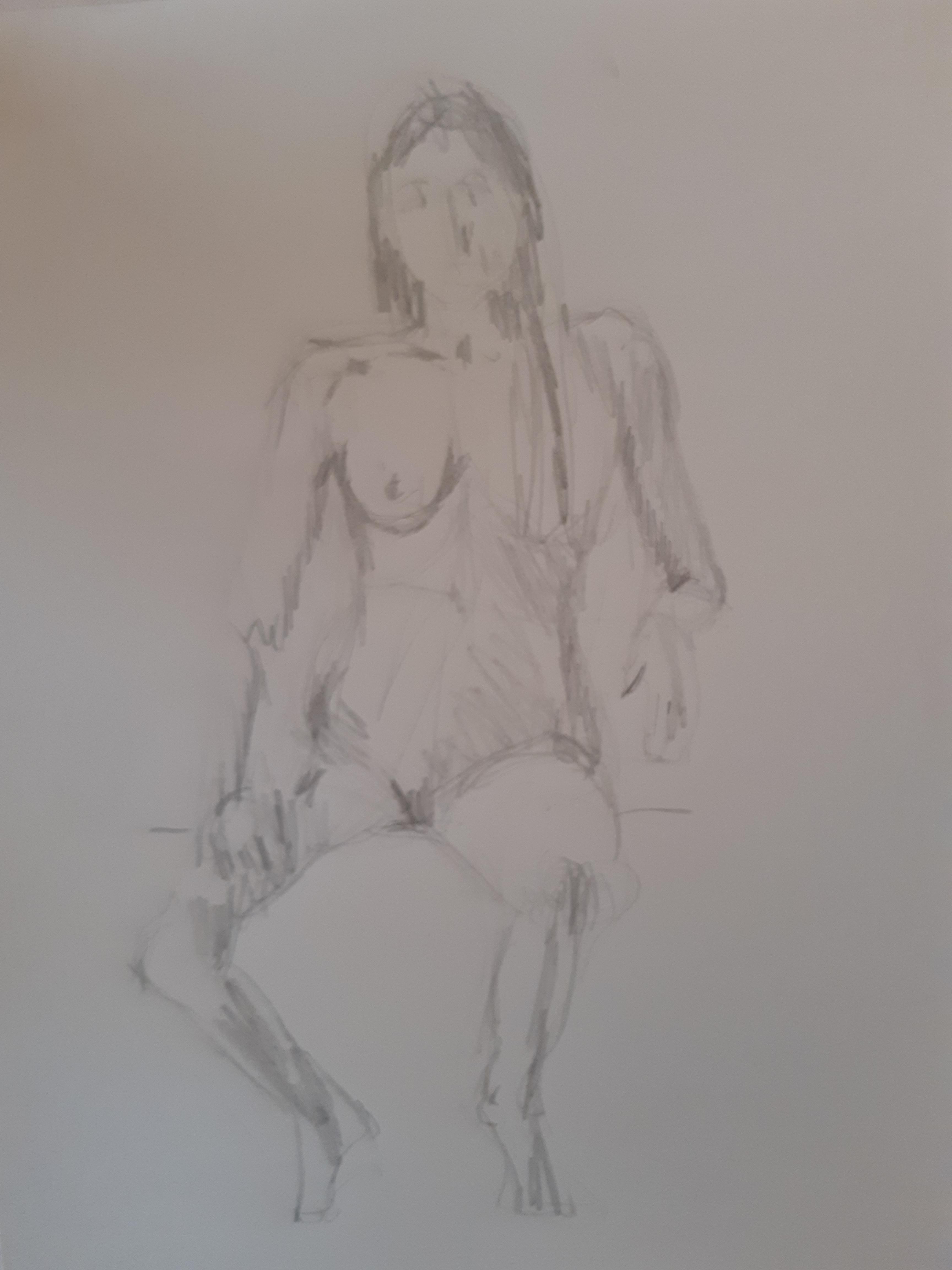 Esquisse crayon de papier avec hachures assis  cours de dessin
