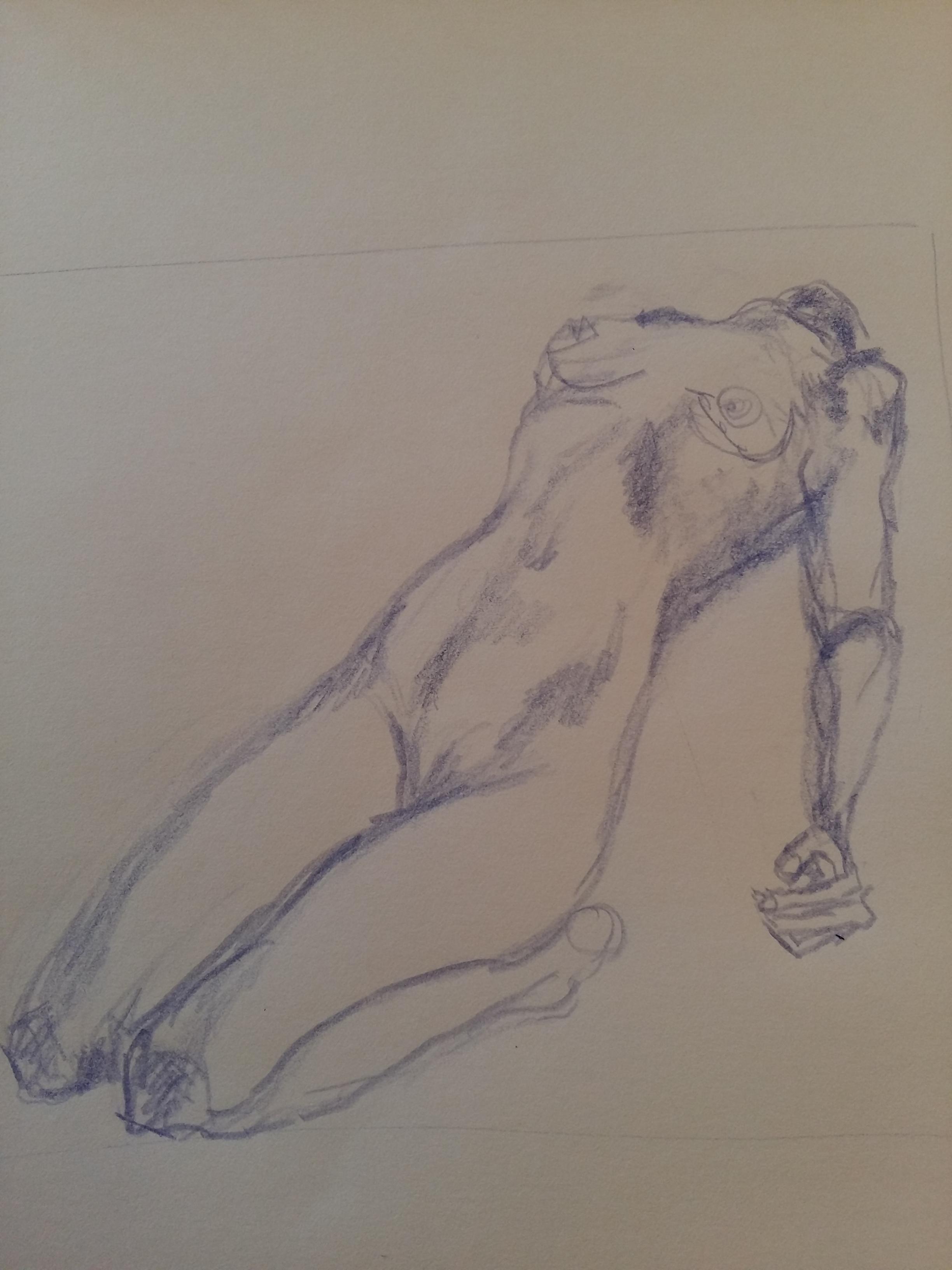 Crayon de couleur buste femme dessin  cours de dessin
