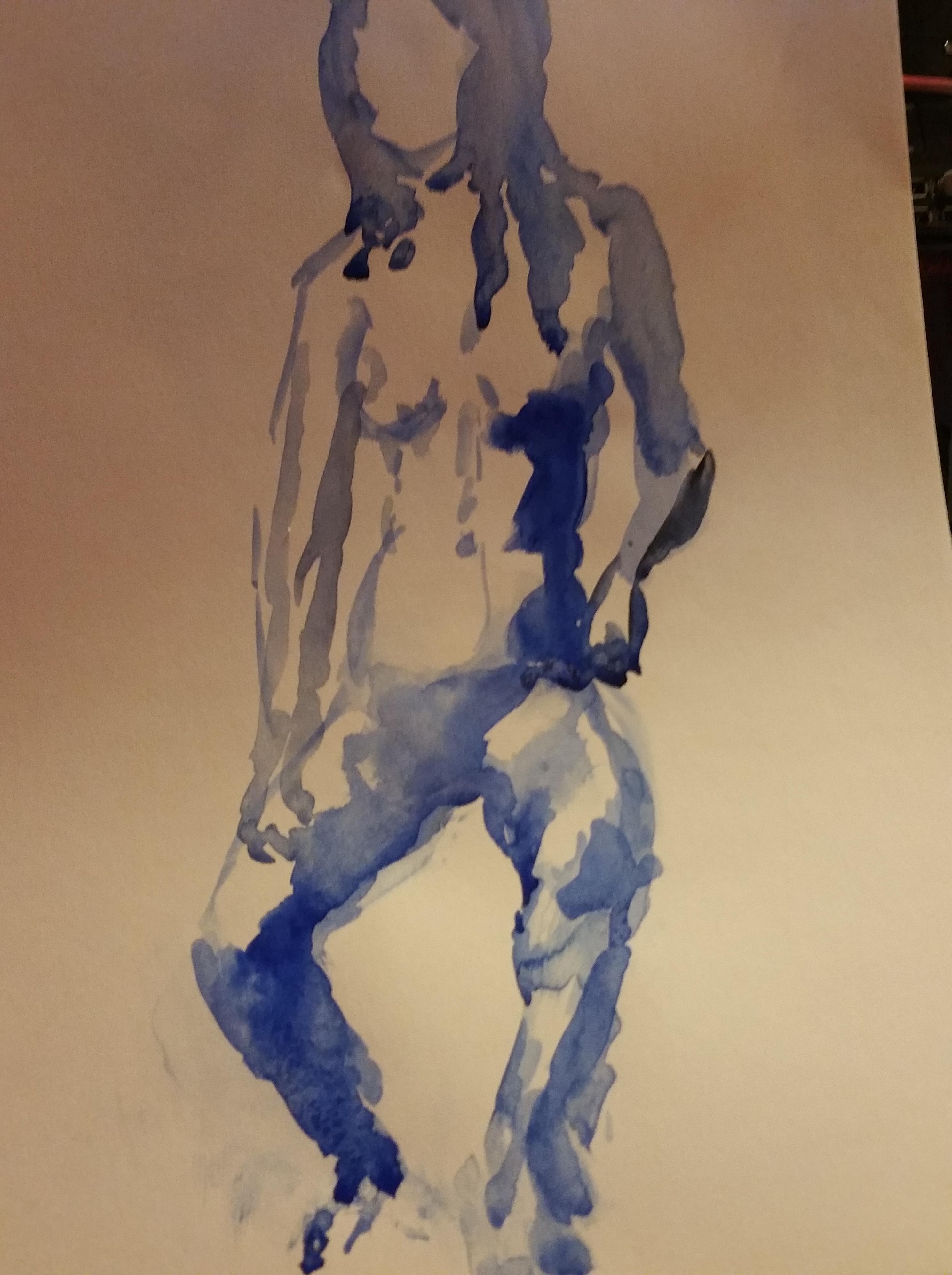 Aquarelles bleues modèle ainsi Suzanne  cours de dessin