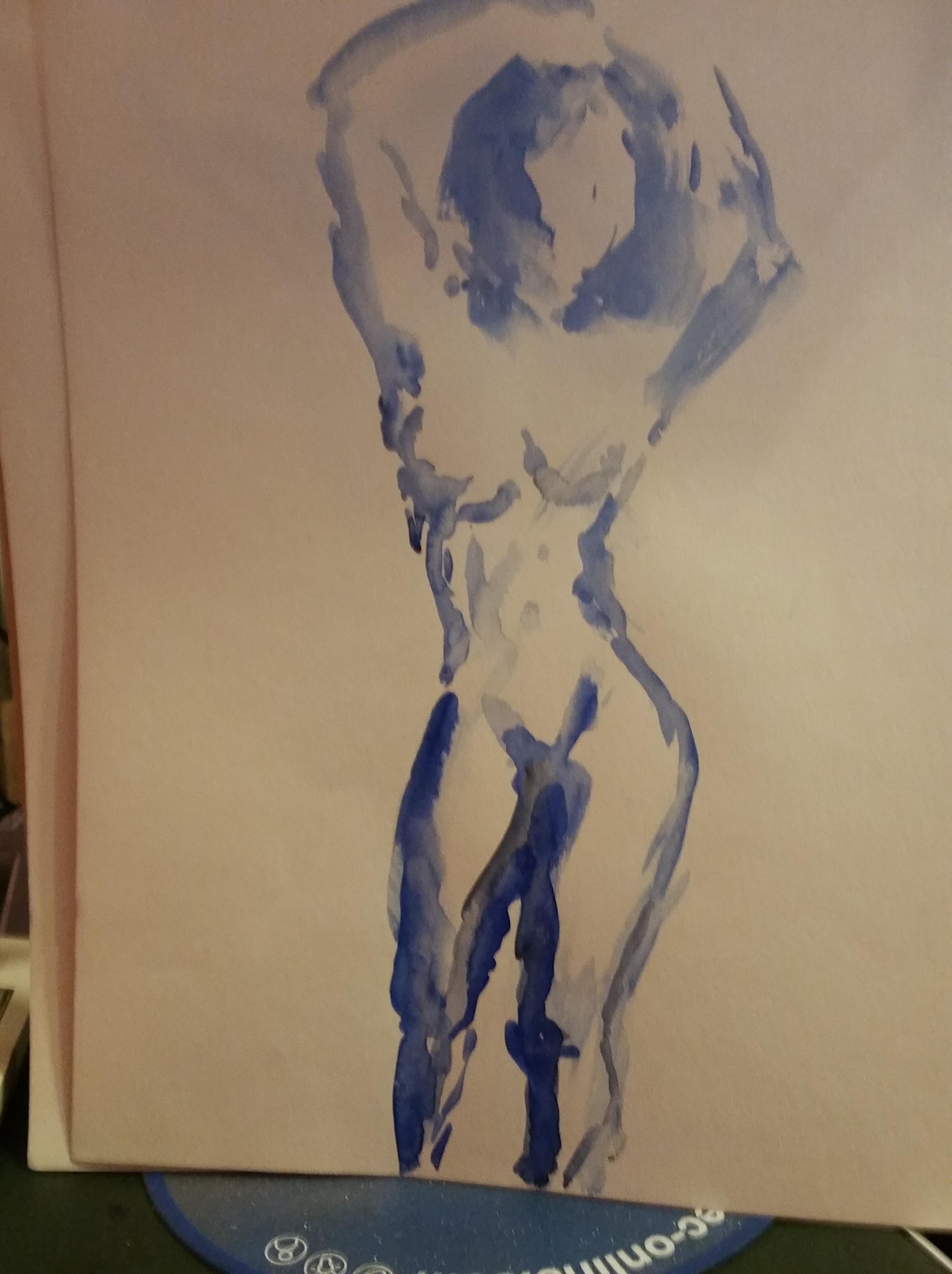 Aquarelle bleue sur papier femme  cours de dessin