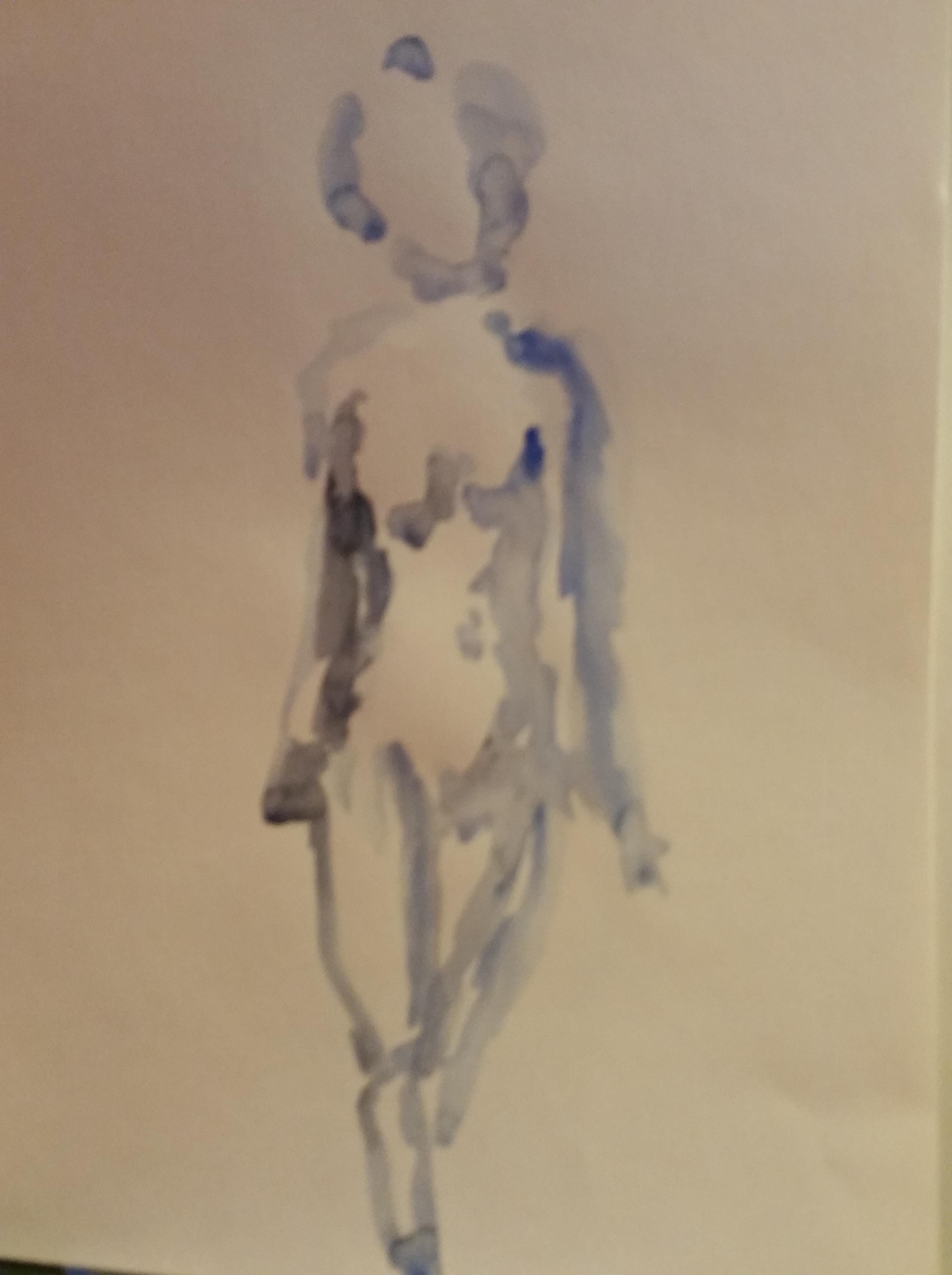 Aquarelle bleu croquis  cours de dessin