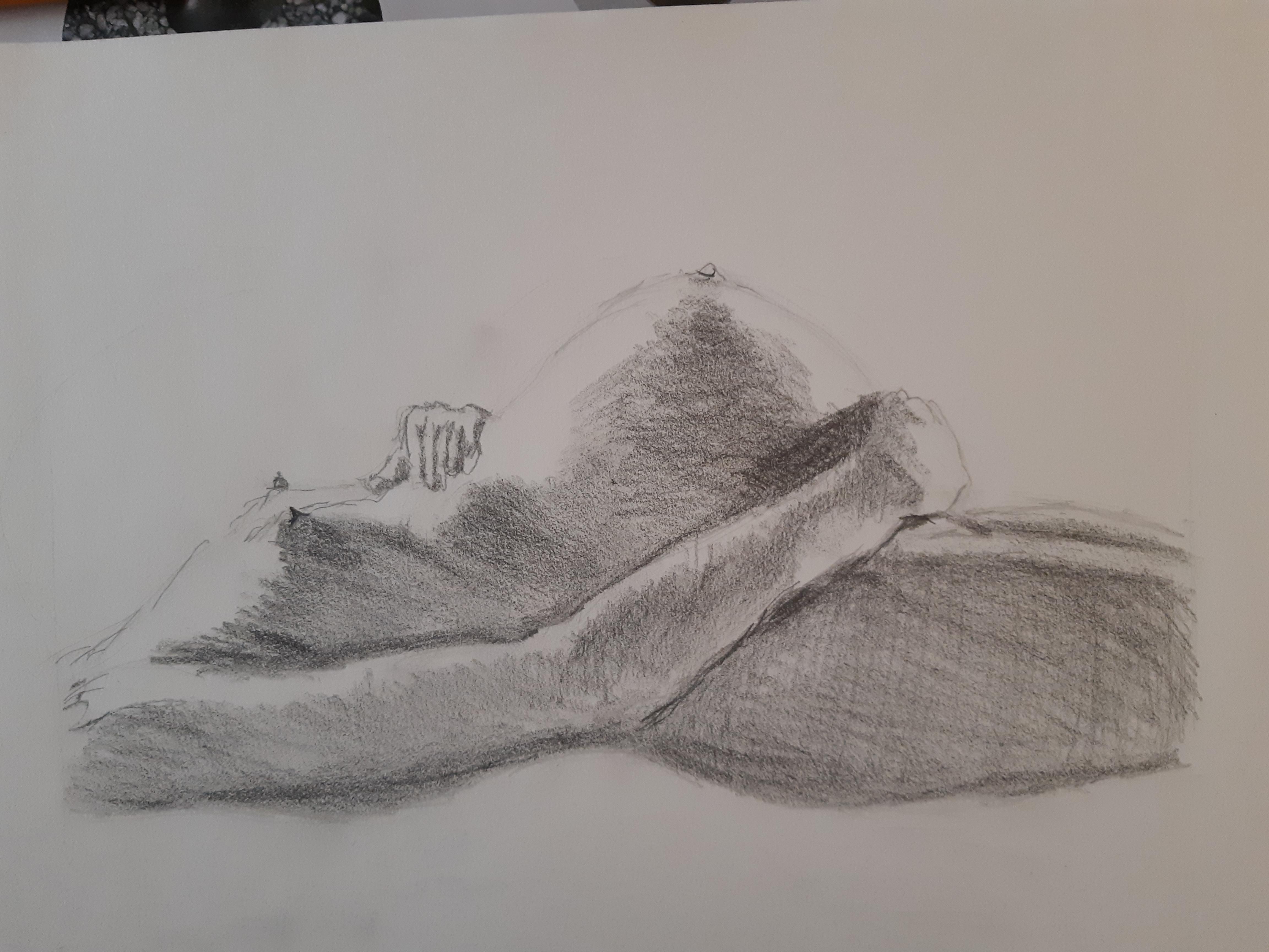Fusain dessin en masse ventre femme  cours de dessin