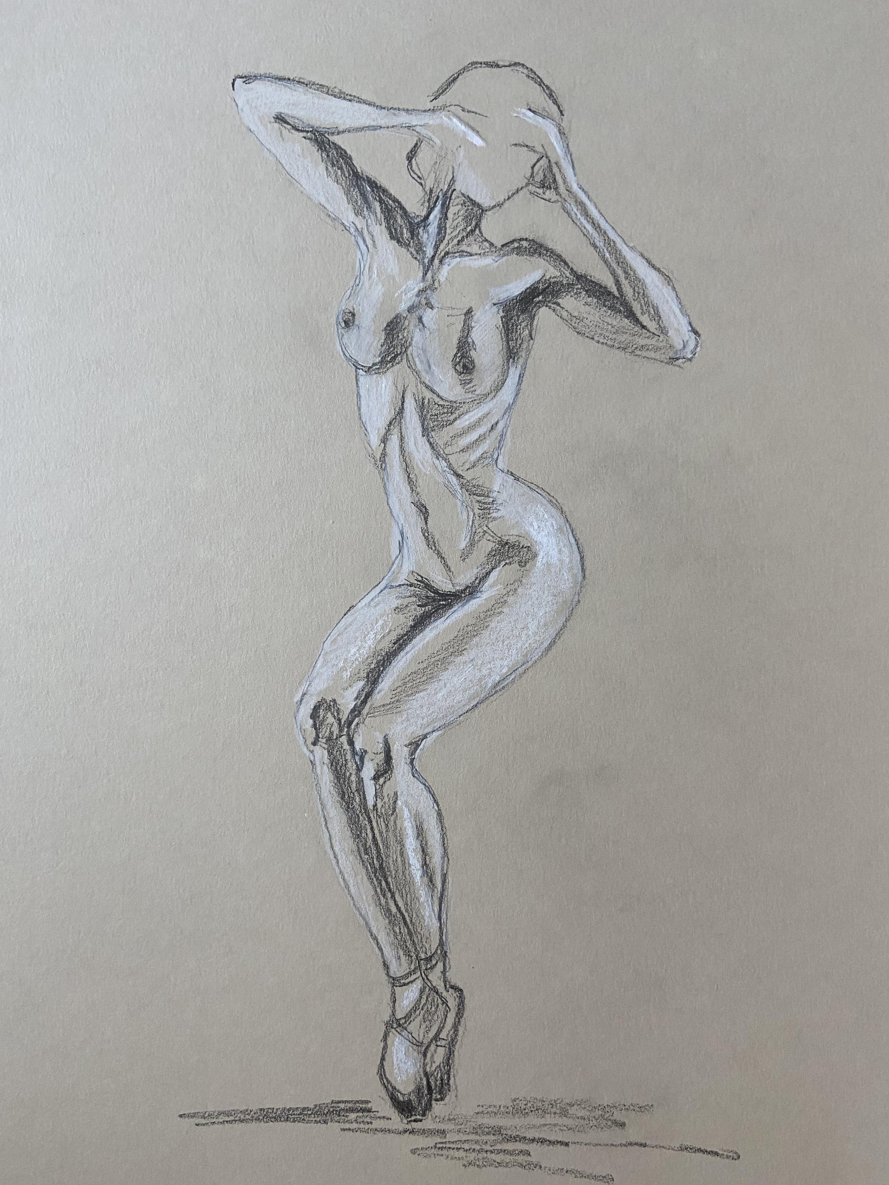 Dessin danseuse paysage fusain pastel blanc  cours de dessin