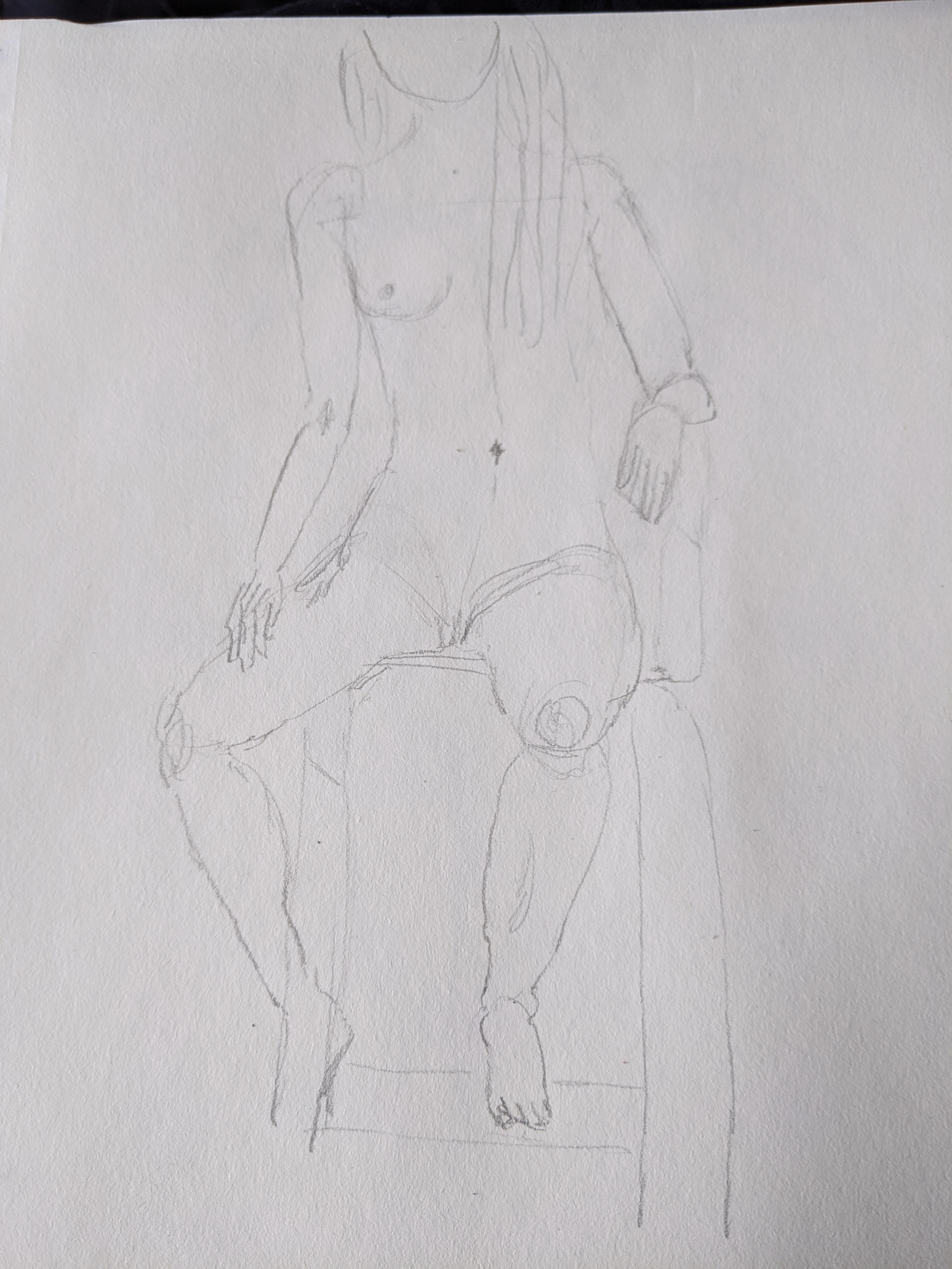 croquis radoucis femme assise   cours de dessin