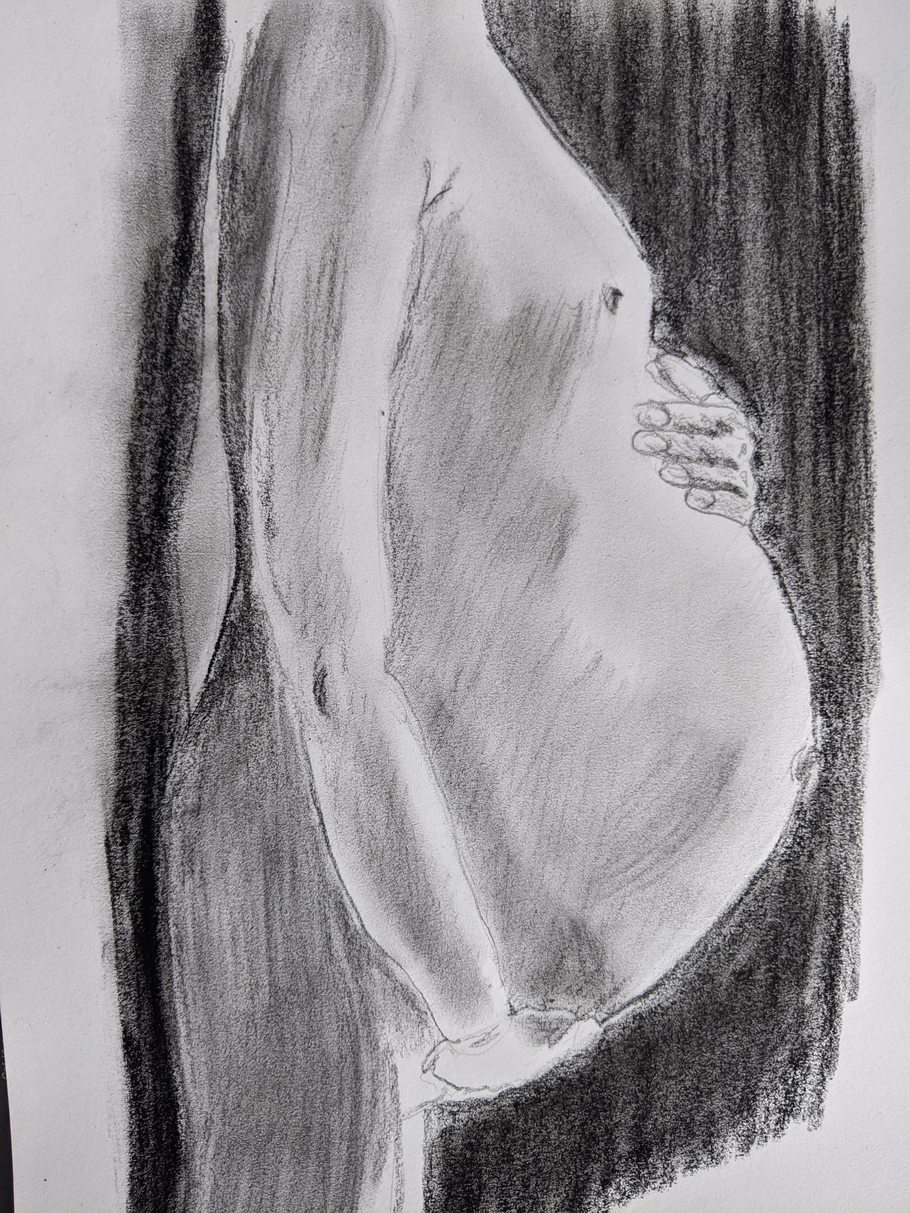 dessin fusain ventre femme enceinte  sur papier  cours de dessin