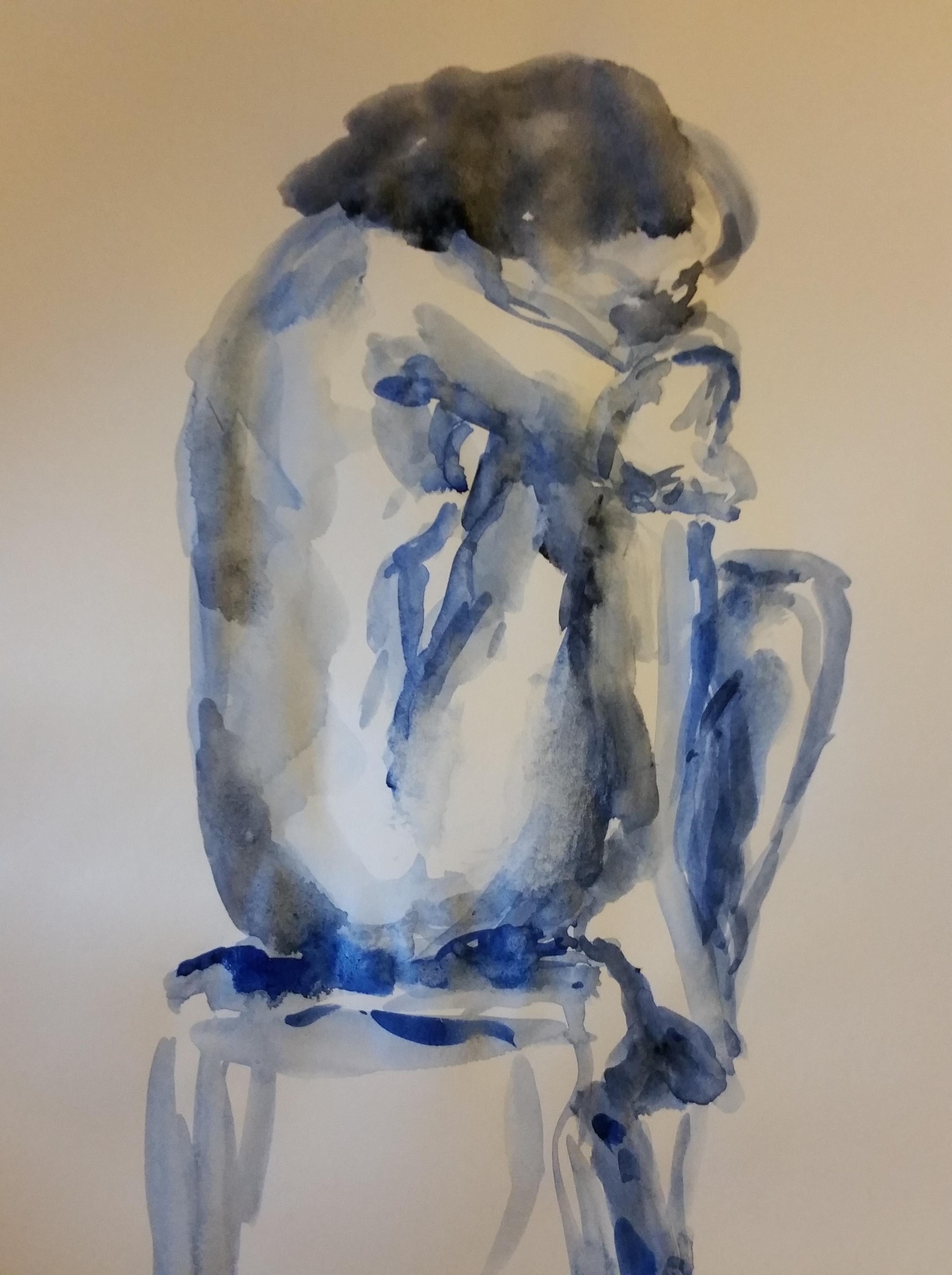 femme assise aquarelle bleu  cours de dessin