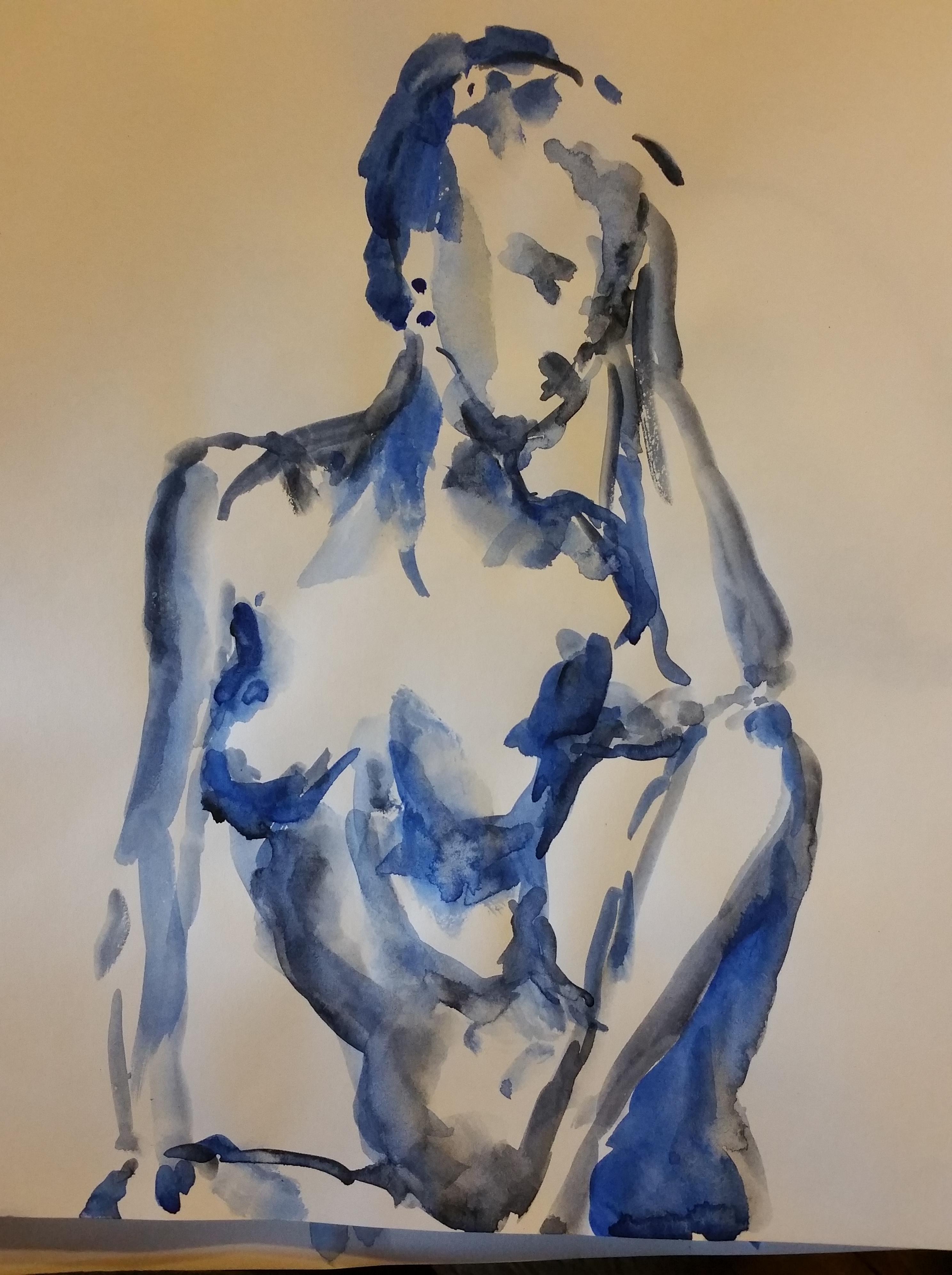 buste aquarelle femme bleu  cours de dessin