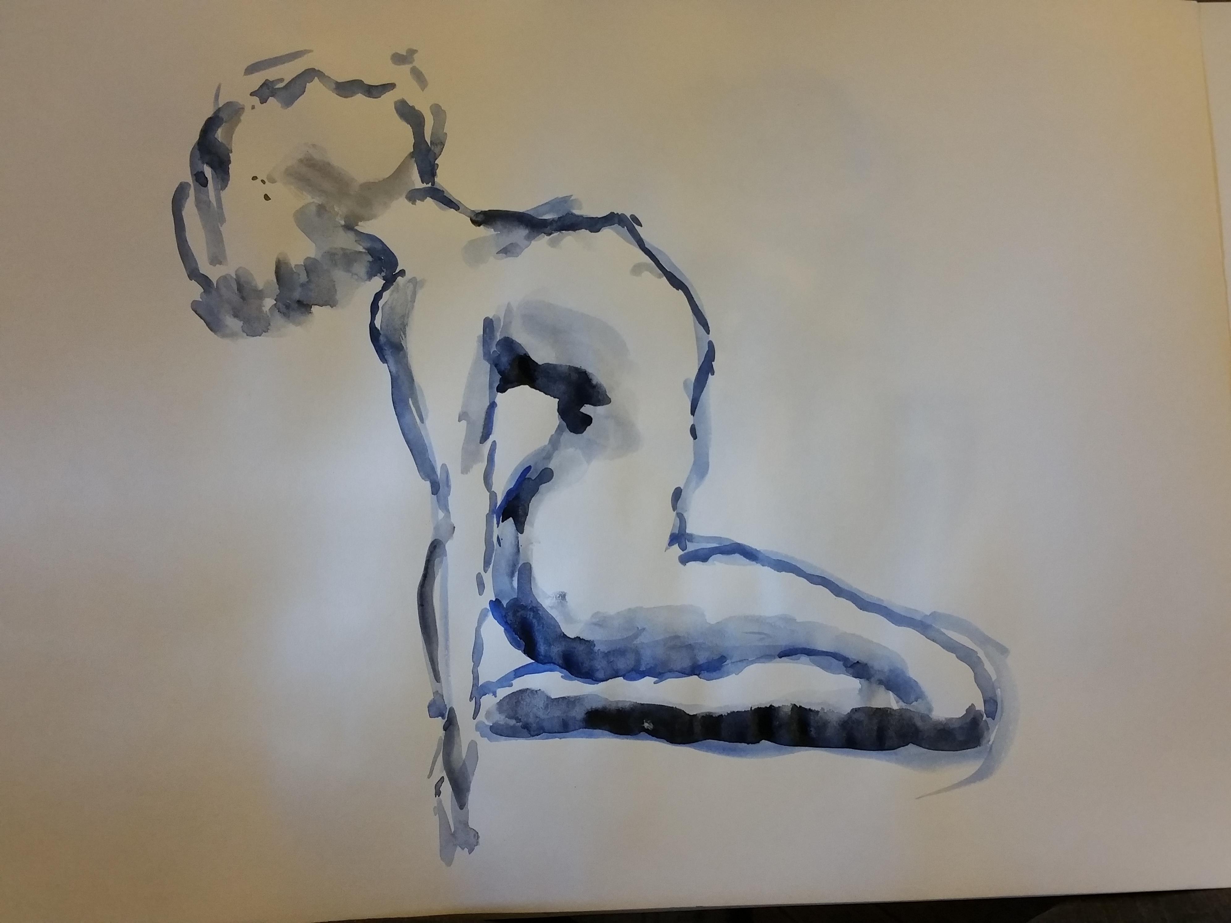 aquarelle bleu pause cambre dessin  cours de dessin