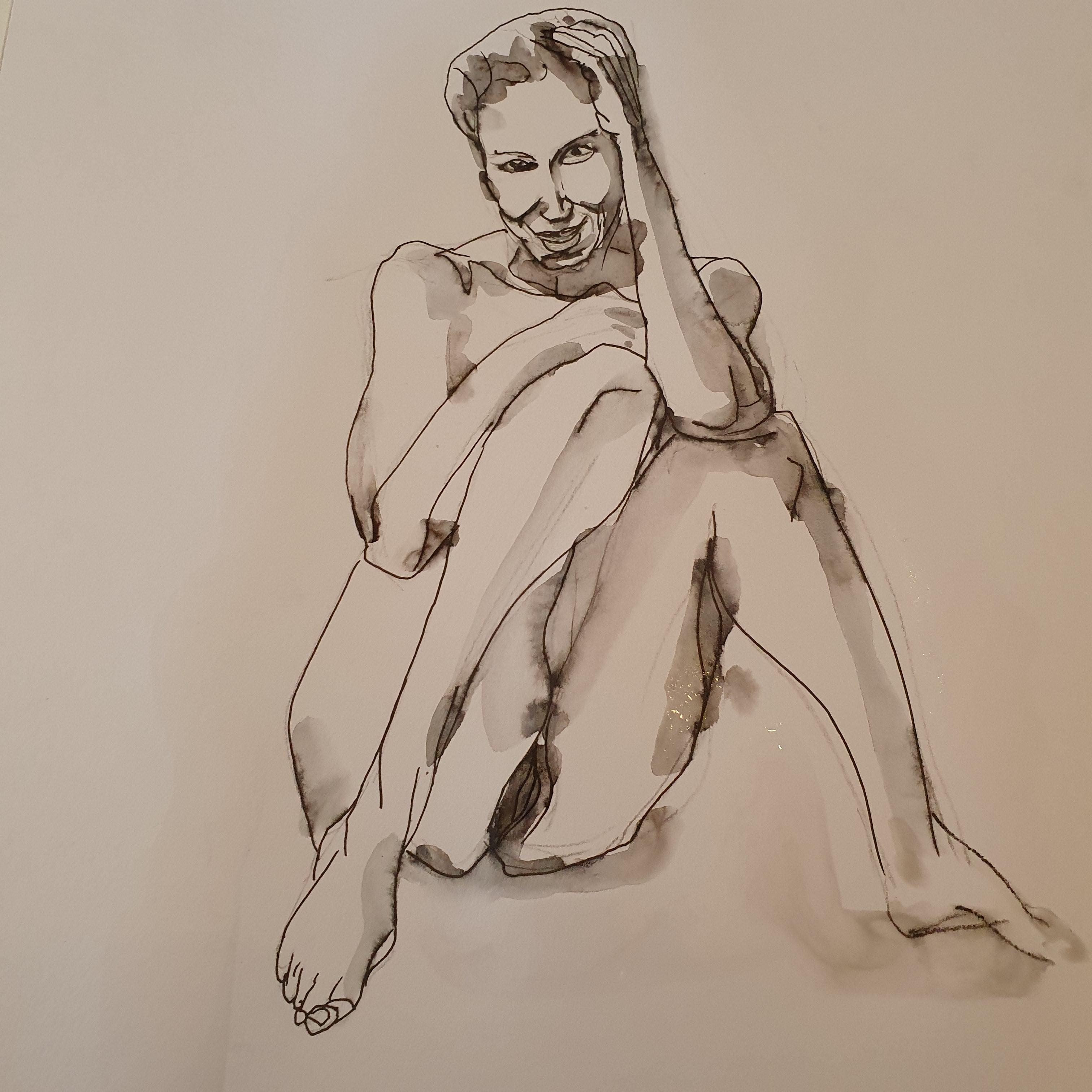 croquis femme assise trait aquarelliste   cours de dessin