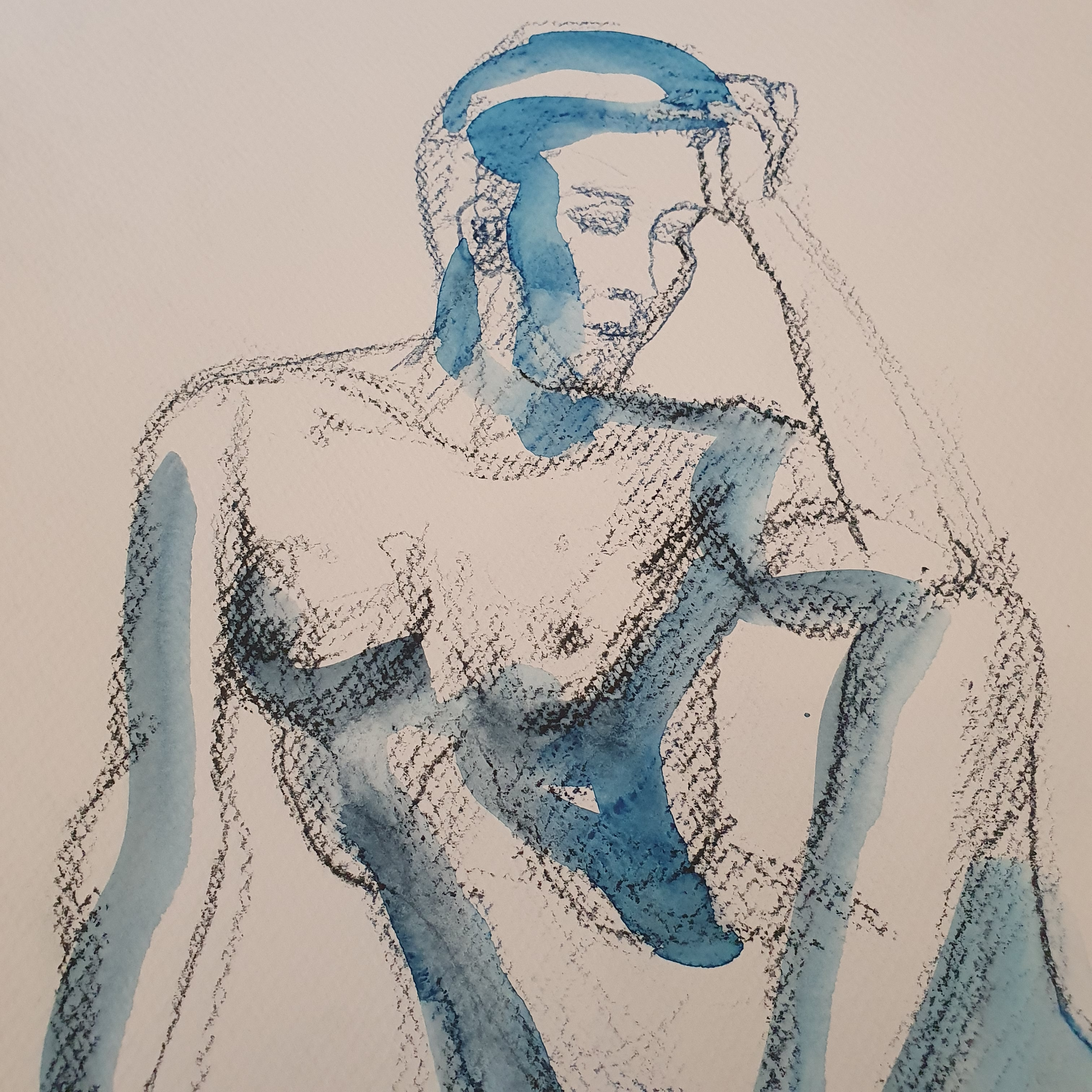 fusain aquarelle bleu sur papier femme  cours de dessin