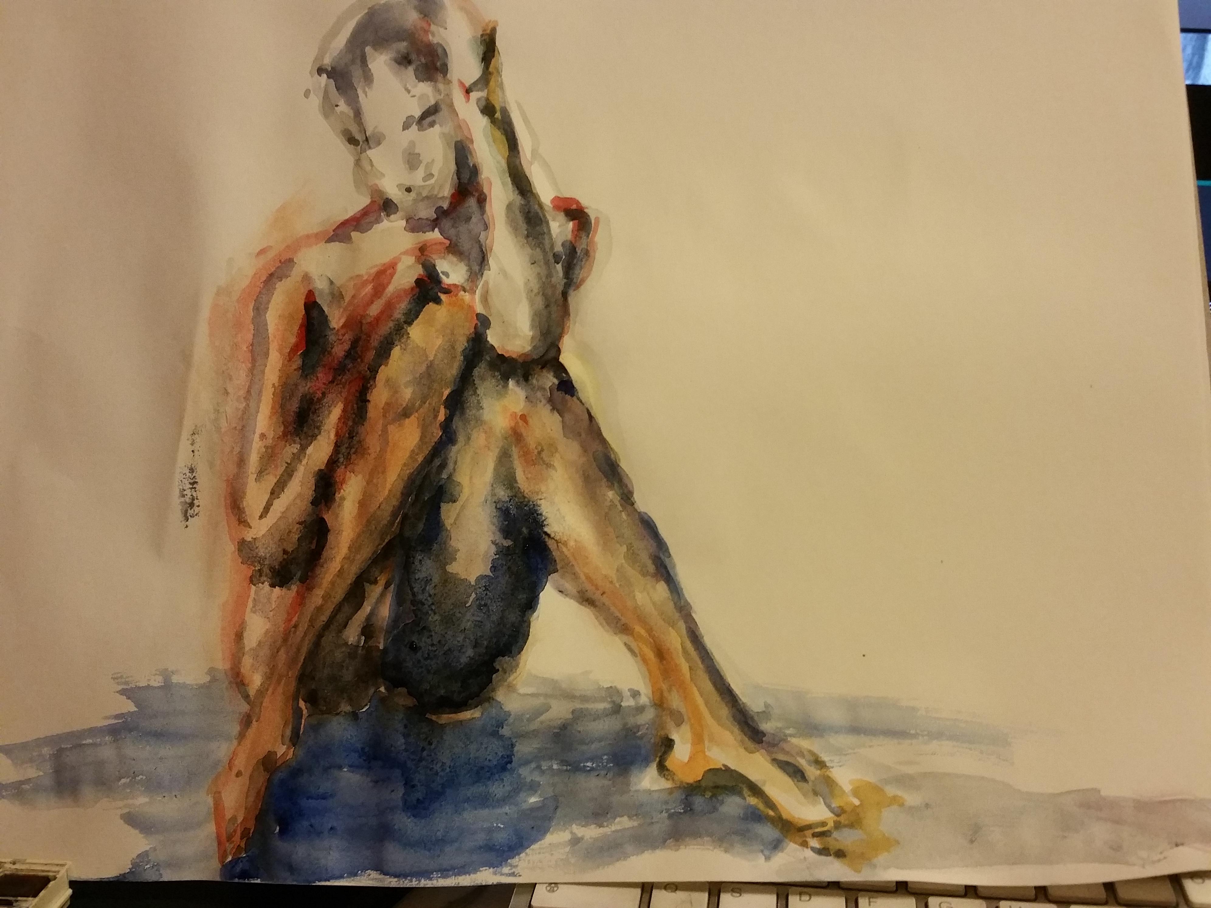 aquarelle couleur femme assise  cours de dessin