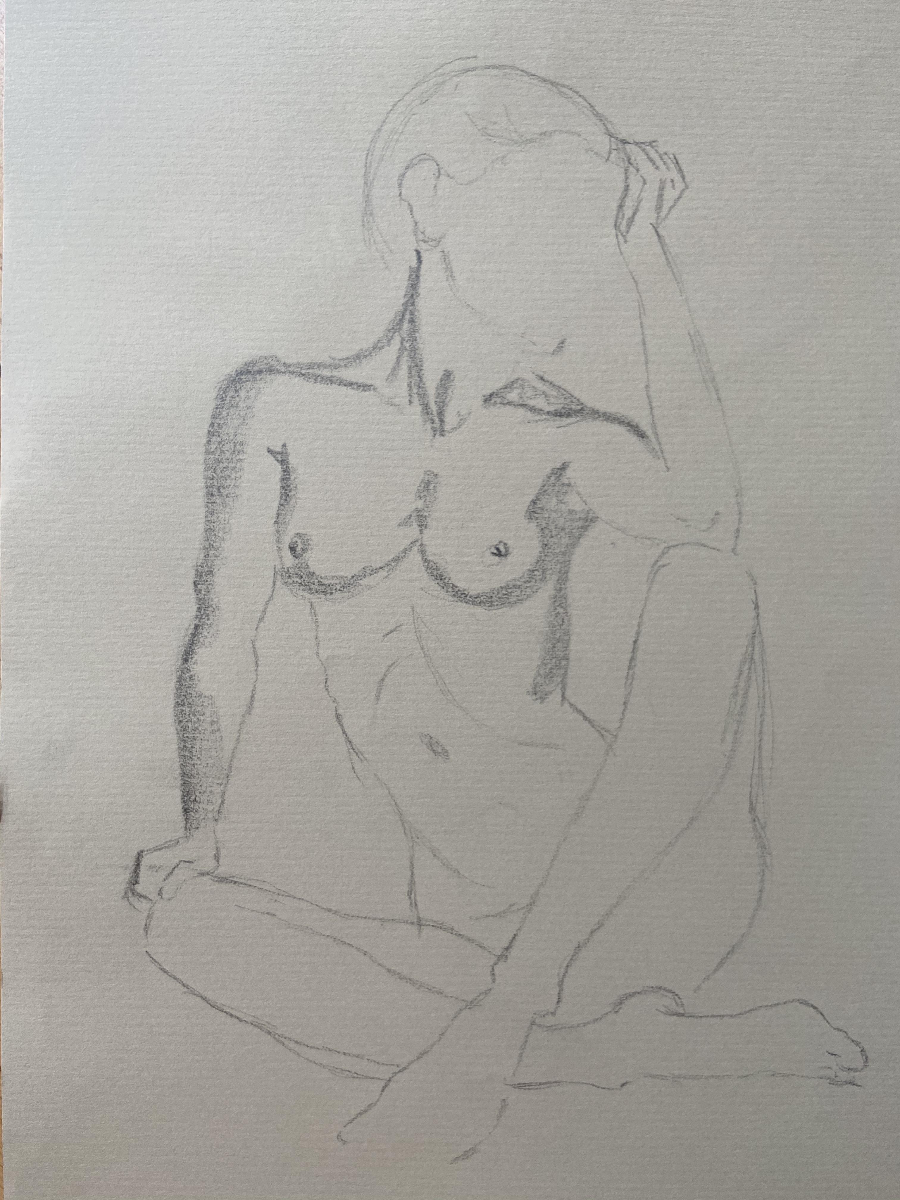 esquisse rapide graphite femme assise  cours de dessin