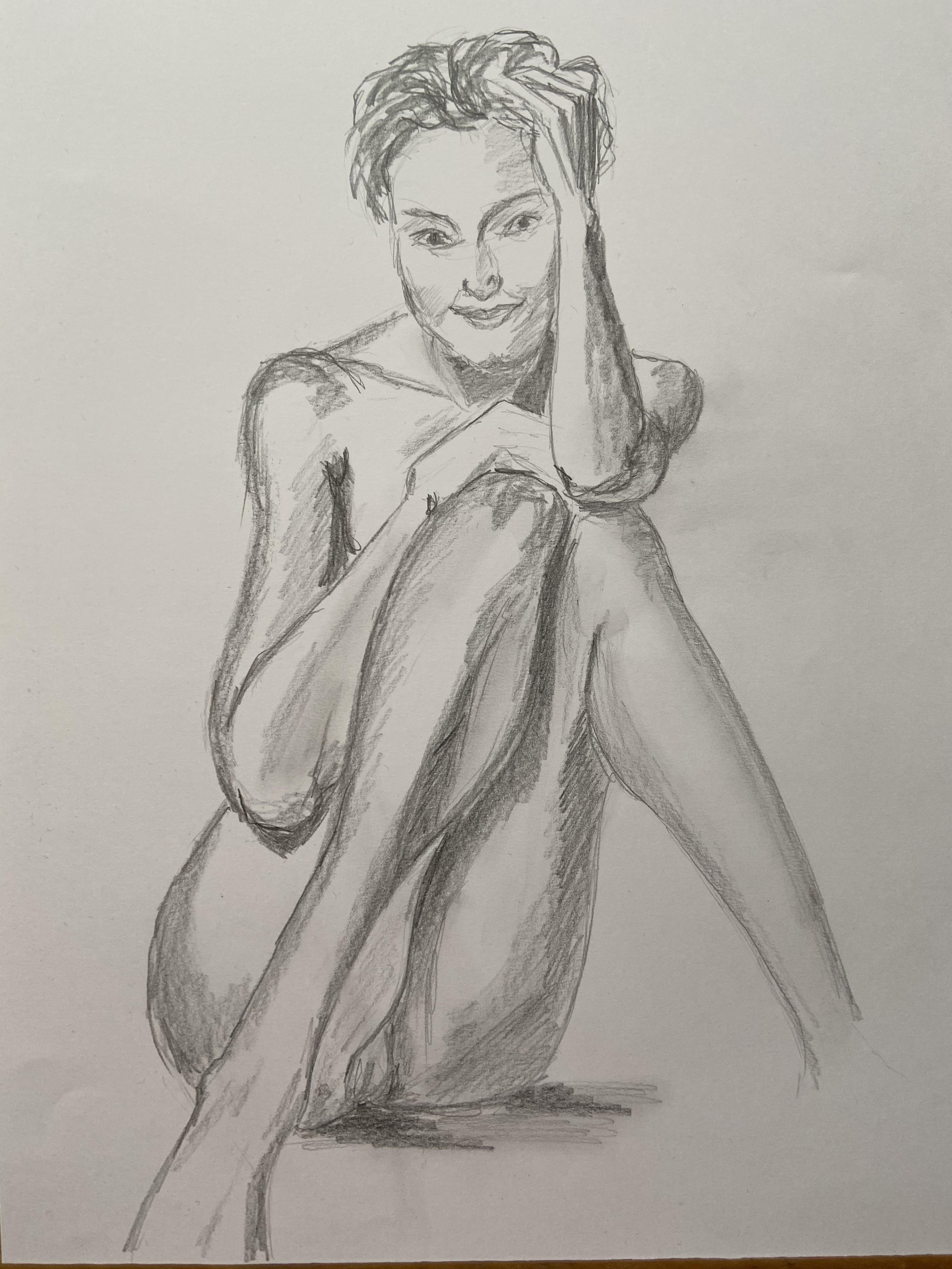 croquis hachures portrait  graphite sur papier  cours de dessin