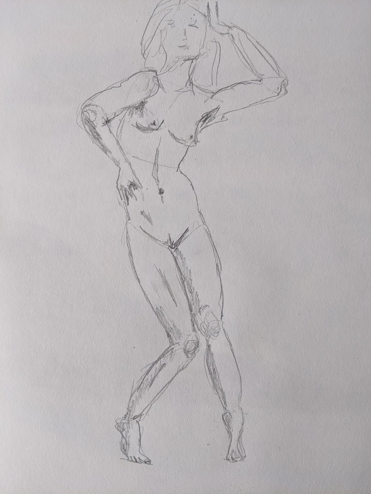 esquisse  femme en valeurs de gris d�hancher  cours de dessin