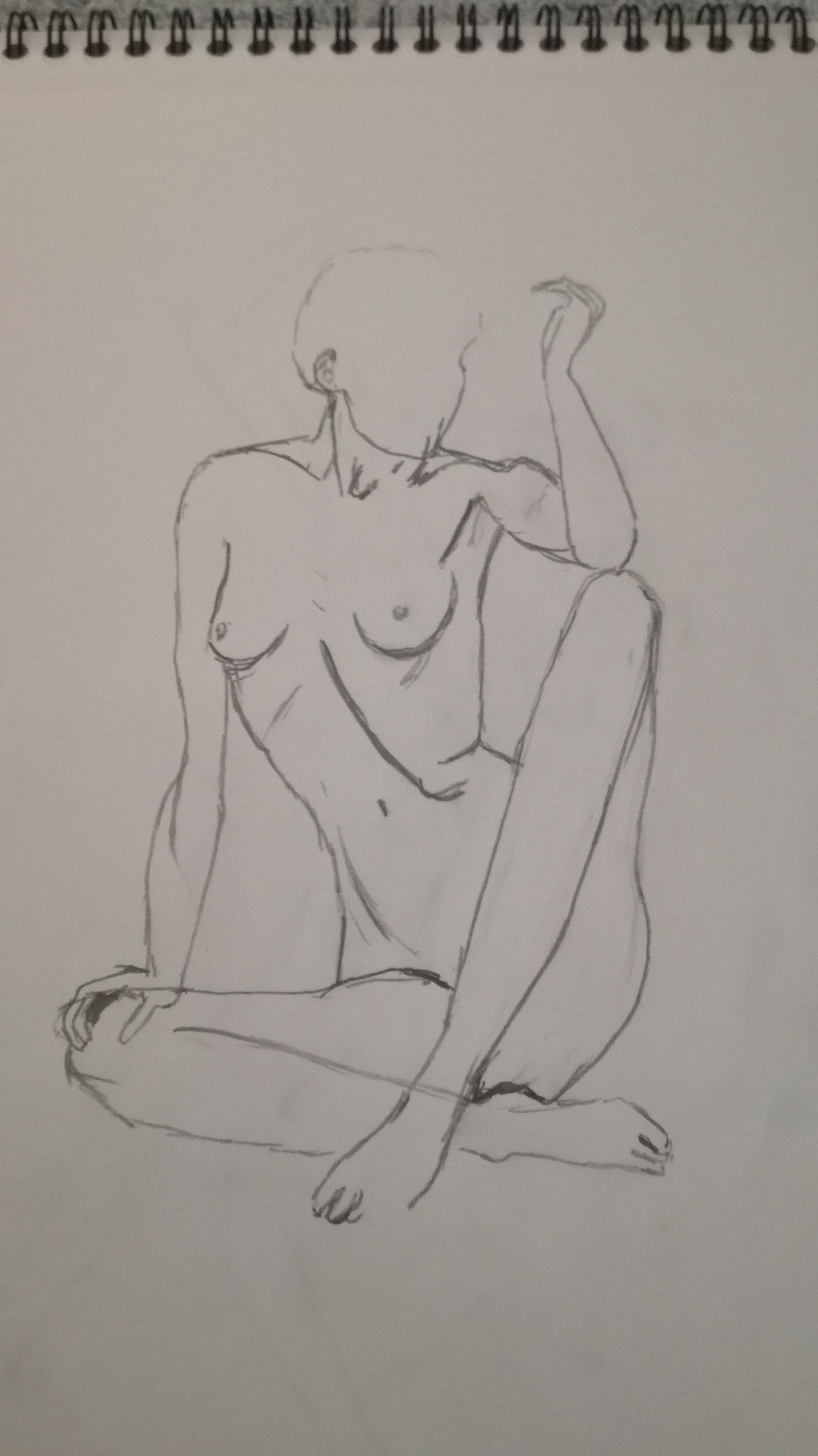 croquis  assis  graphite buste femme  cours de dessin