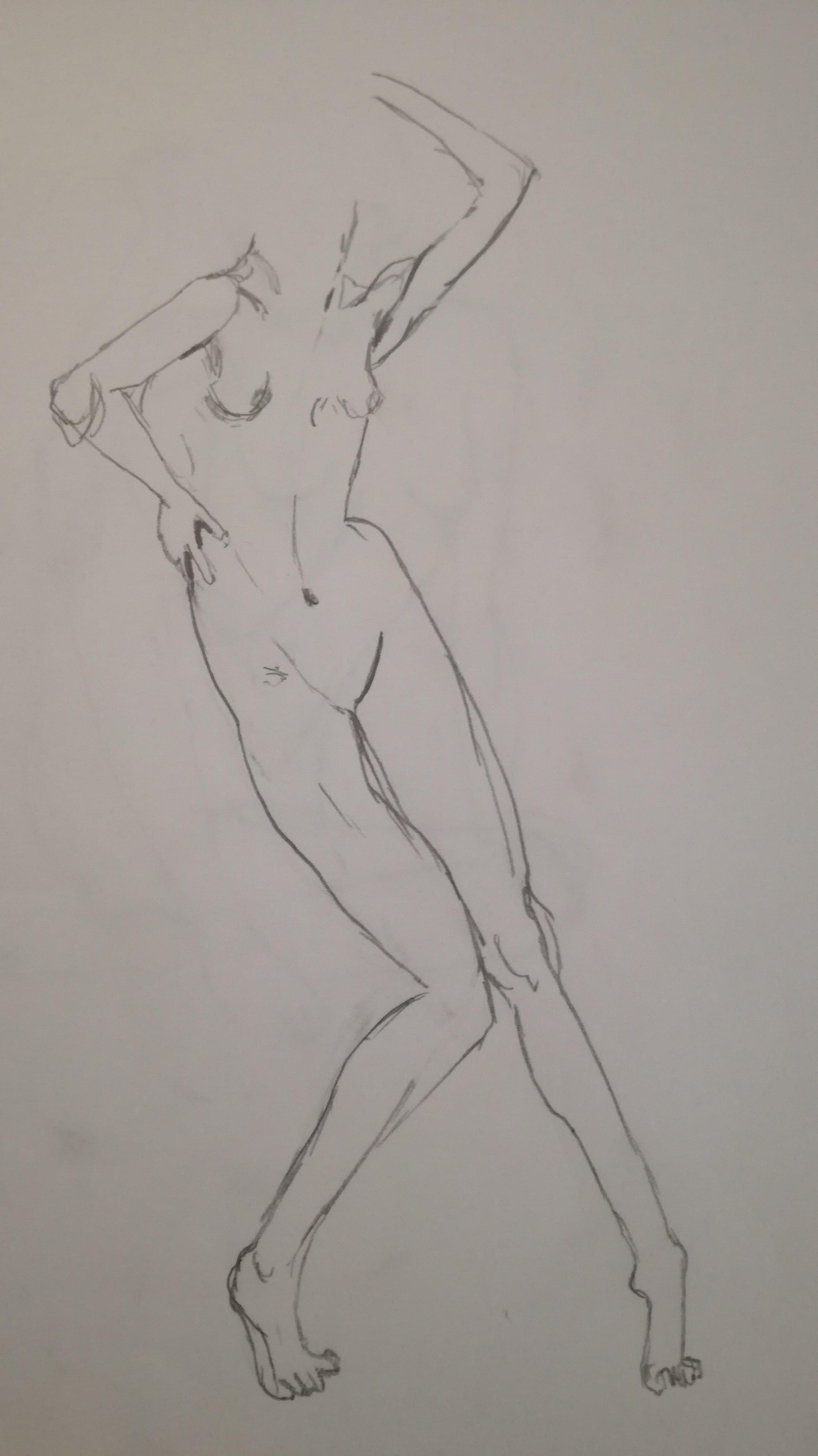 dessin au trait femme croquis  sur papier  cours de dessin