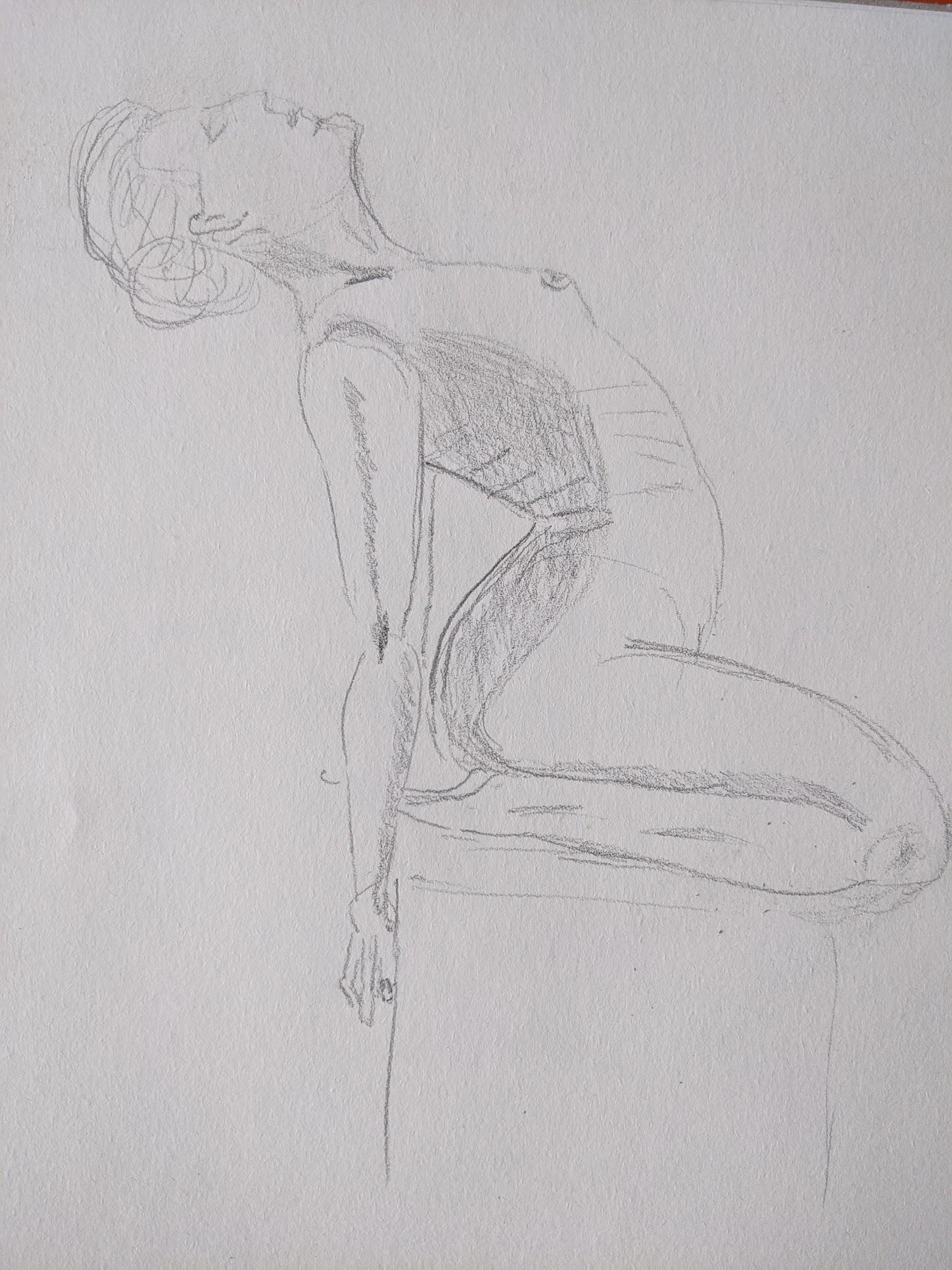 dessin hachure graphite femme sur papier  cours de dessin