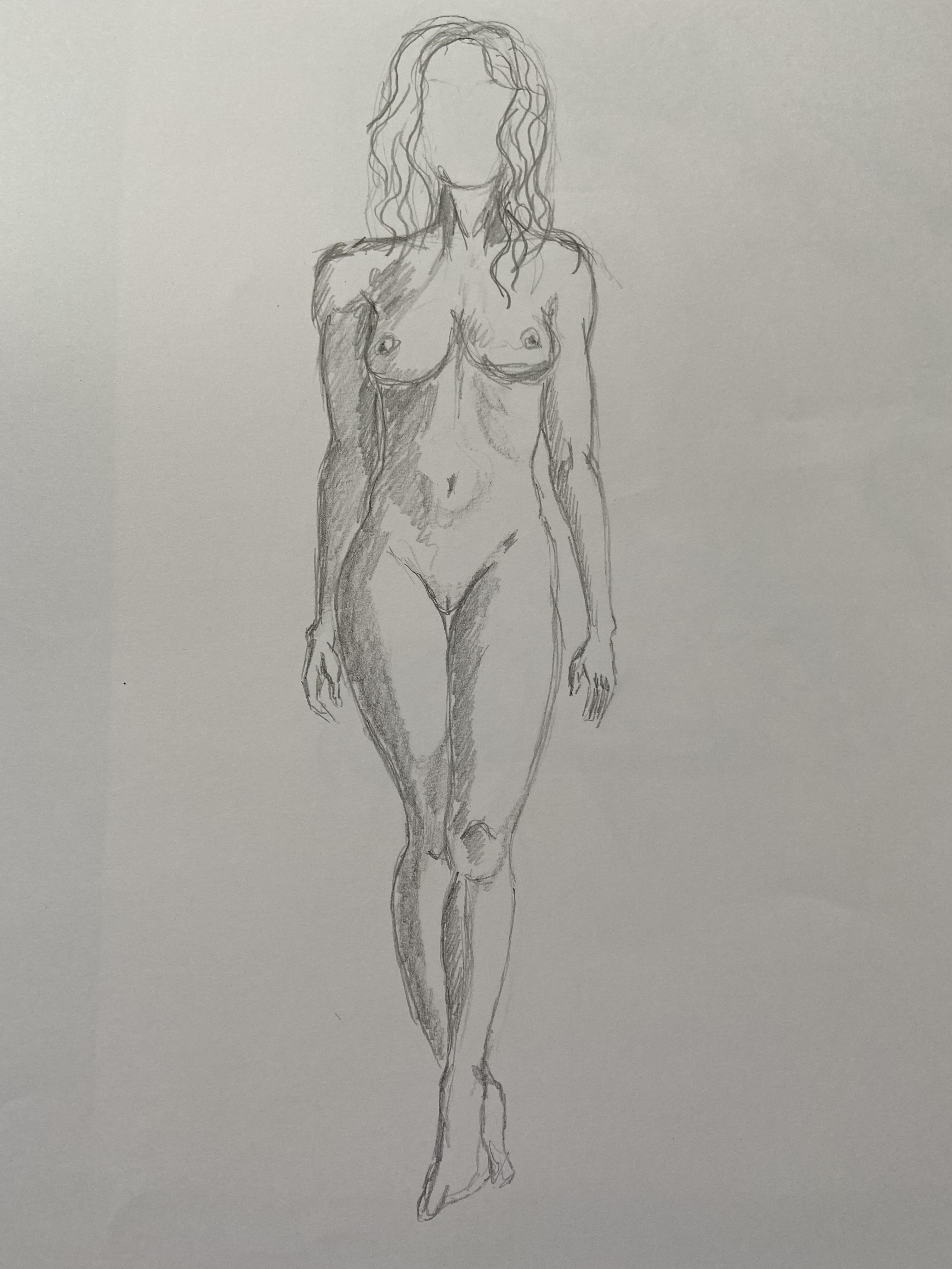 croquis  mod�le debout  graphite  cours de dessin