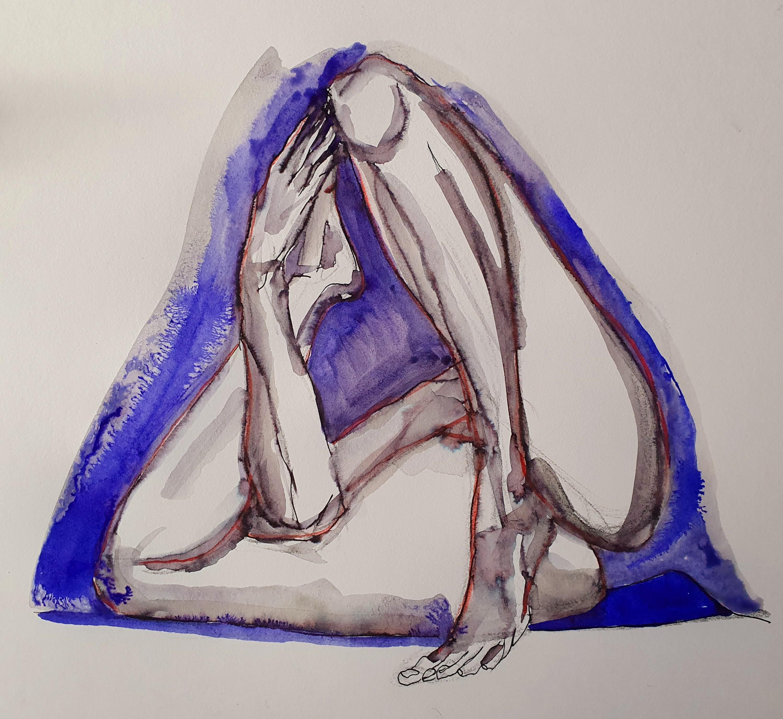 pause mod�le vivant en triangle  techniques mixte  cours de dessin