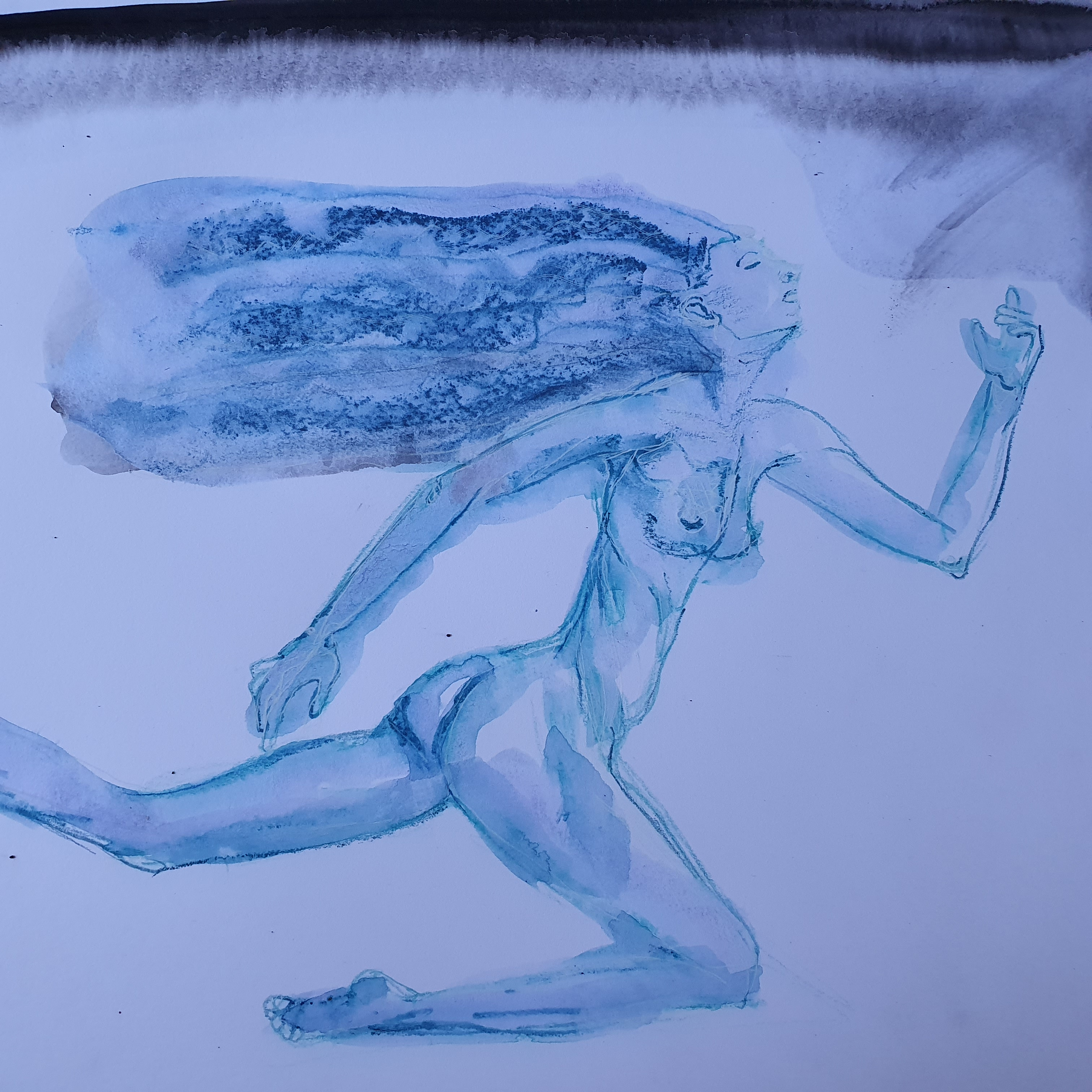 techniques mixte dessin aquarelle crayon de couleur femme bleu  nu  cours de dessin