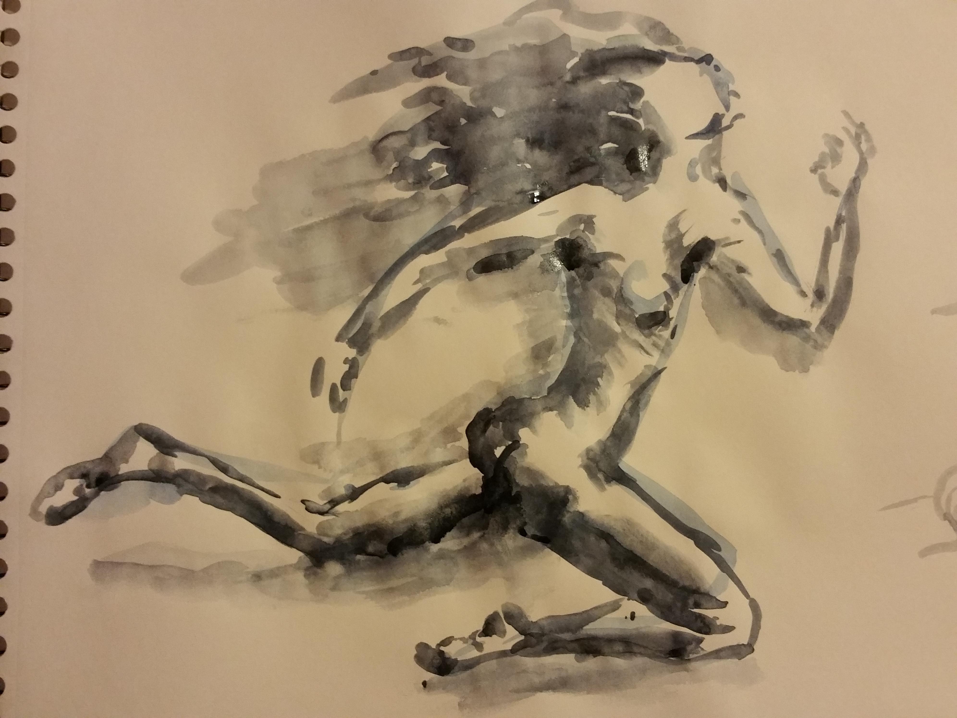lavis femme course  cours de dessin