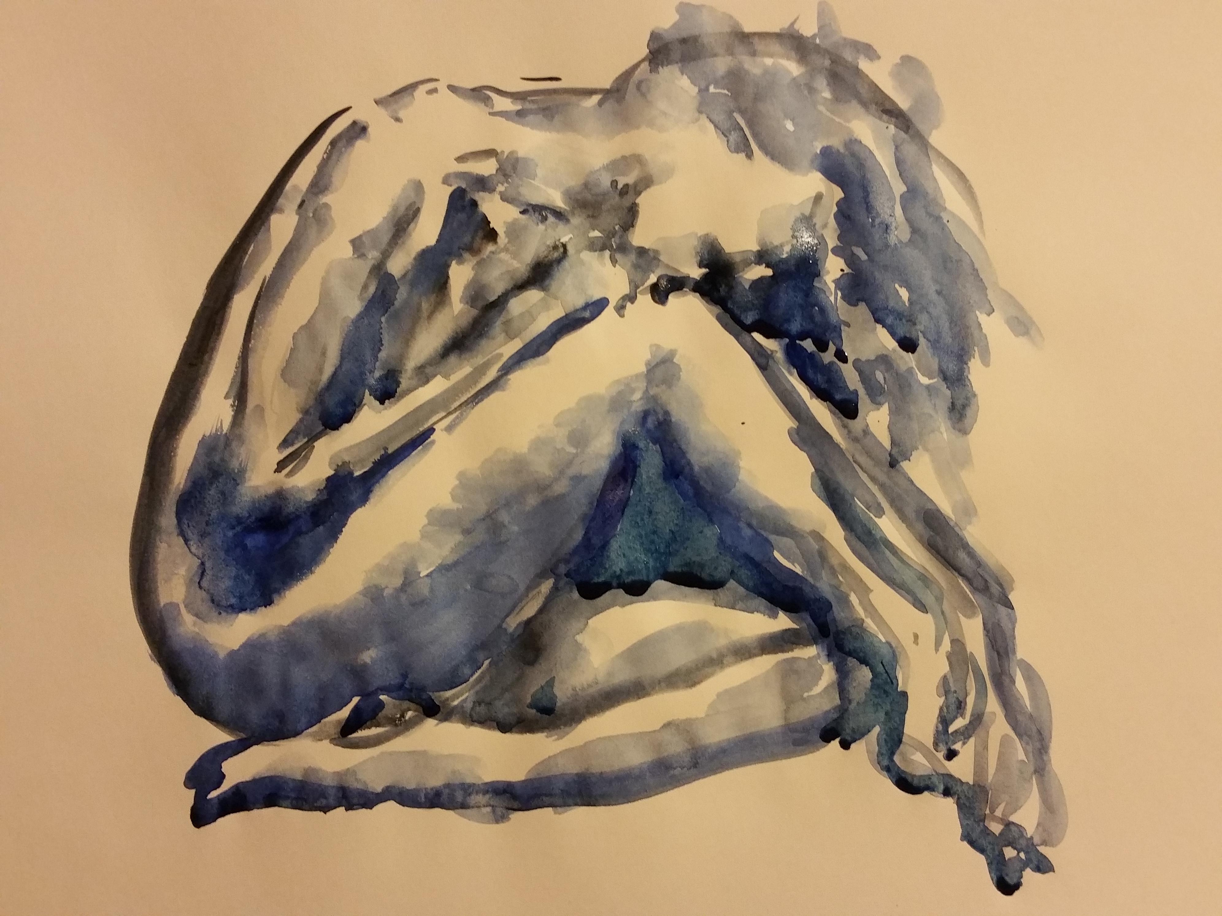 dessin aquarelle bleu femme assise   cours de dessin