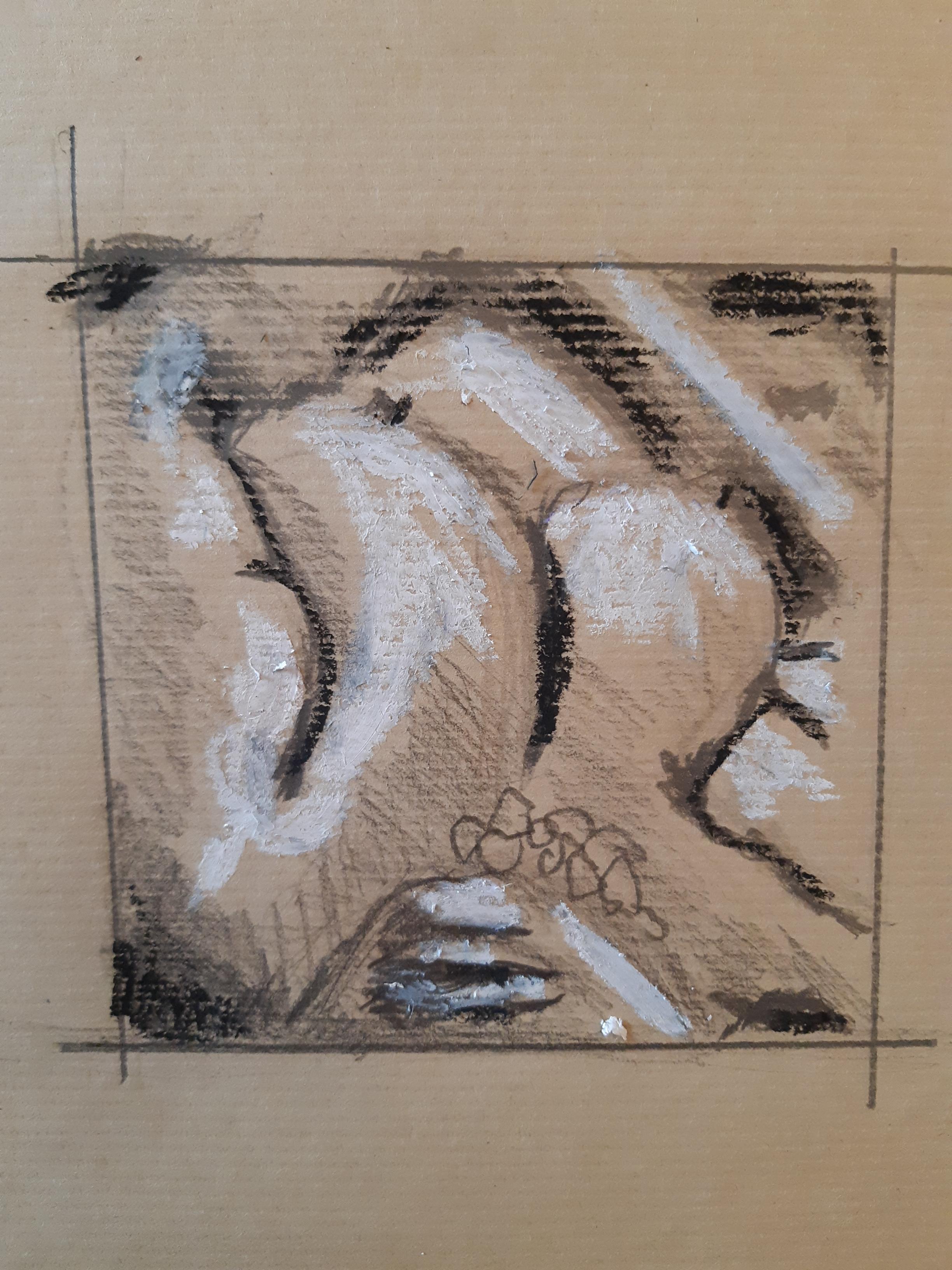 dessin technique mixte pastel noir craie banche papier kraft  cours de dessin