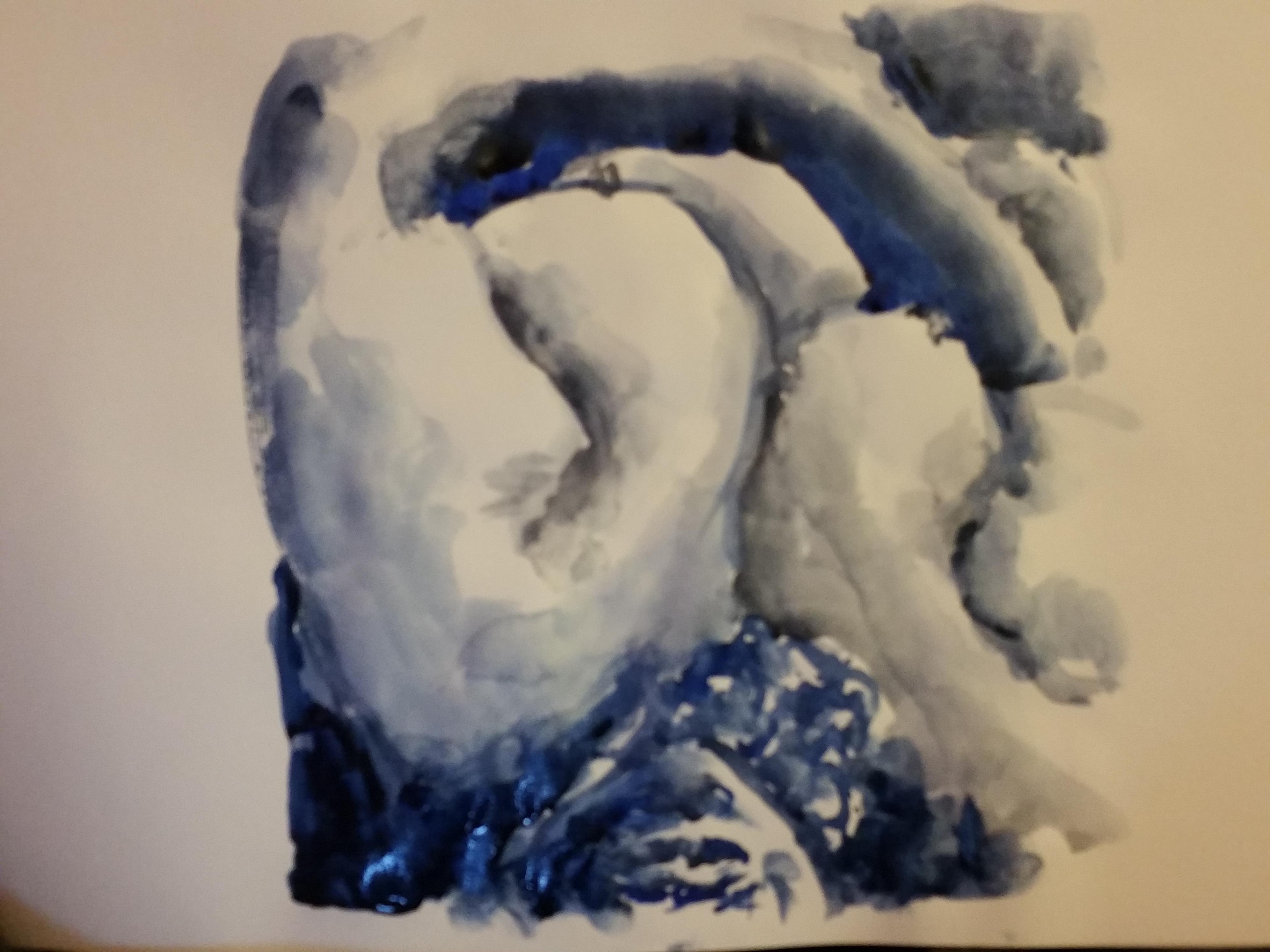 pause mod�le fermer aquarelle bleu  cours de dessin