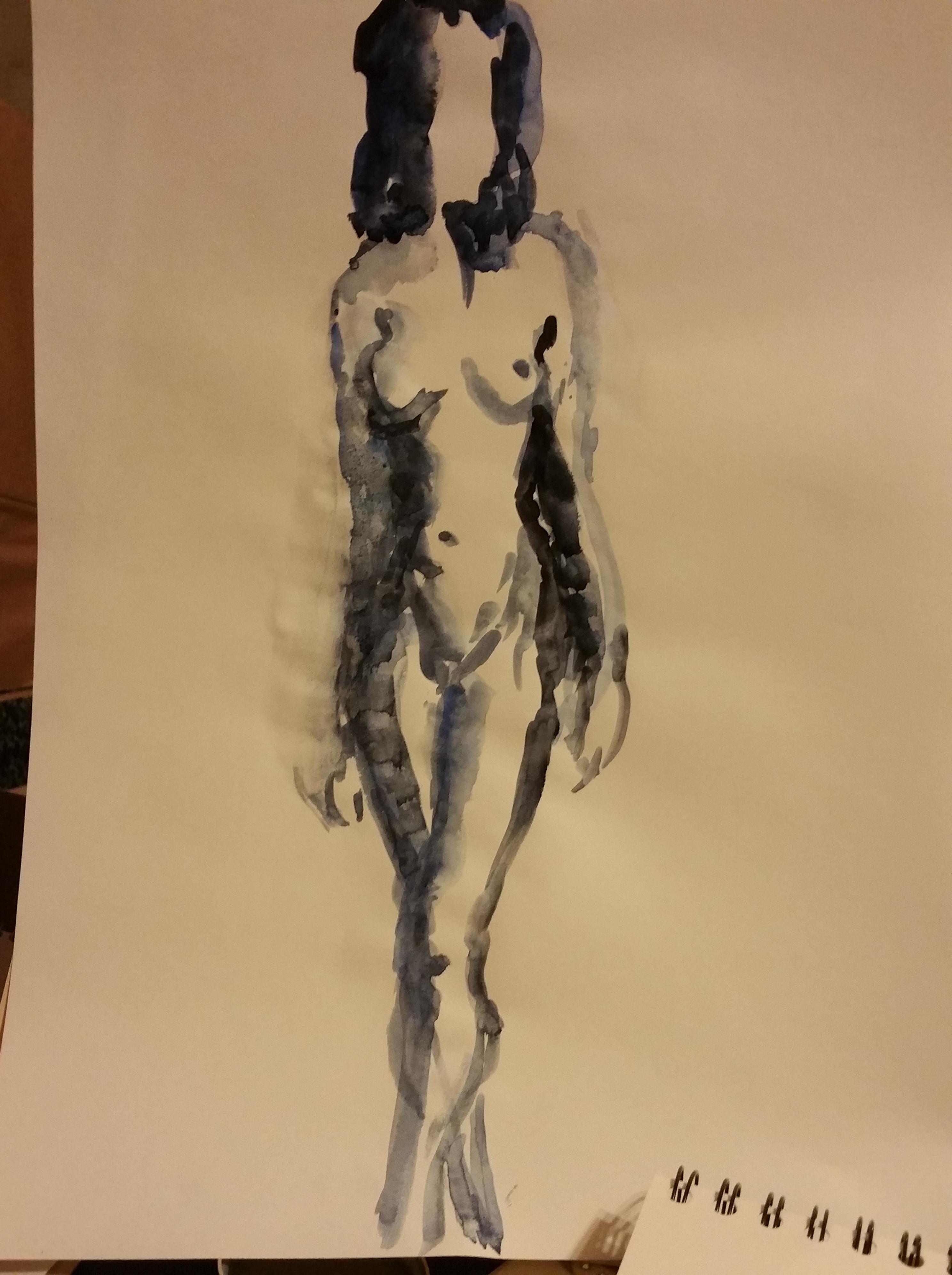 croquis aquarelle sur papier femme en pied   cours de dessin