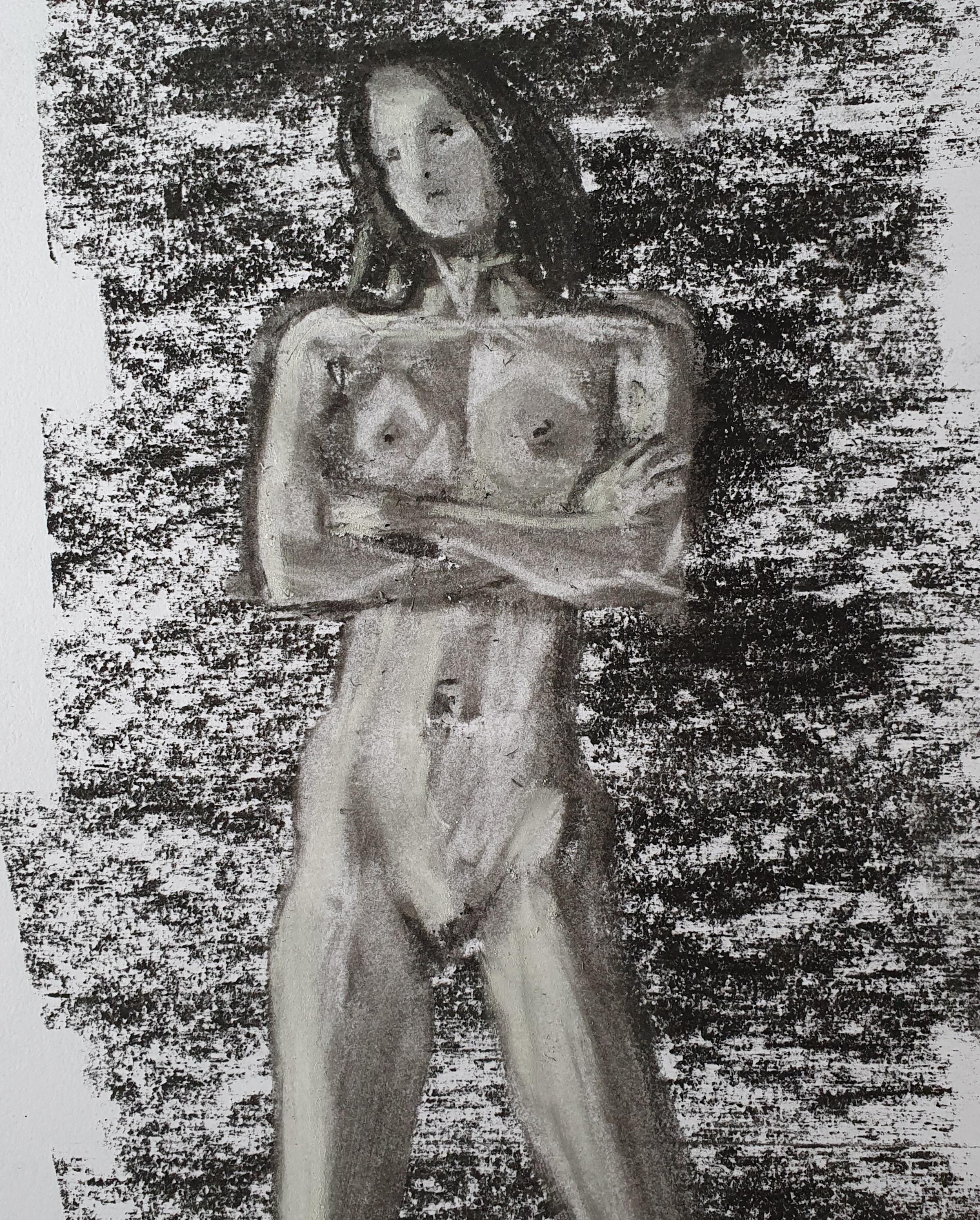Fusain pastel dessin femme face bras crois�  cours de dessin