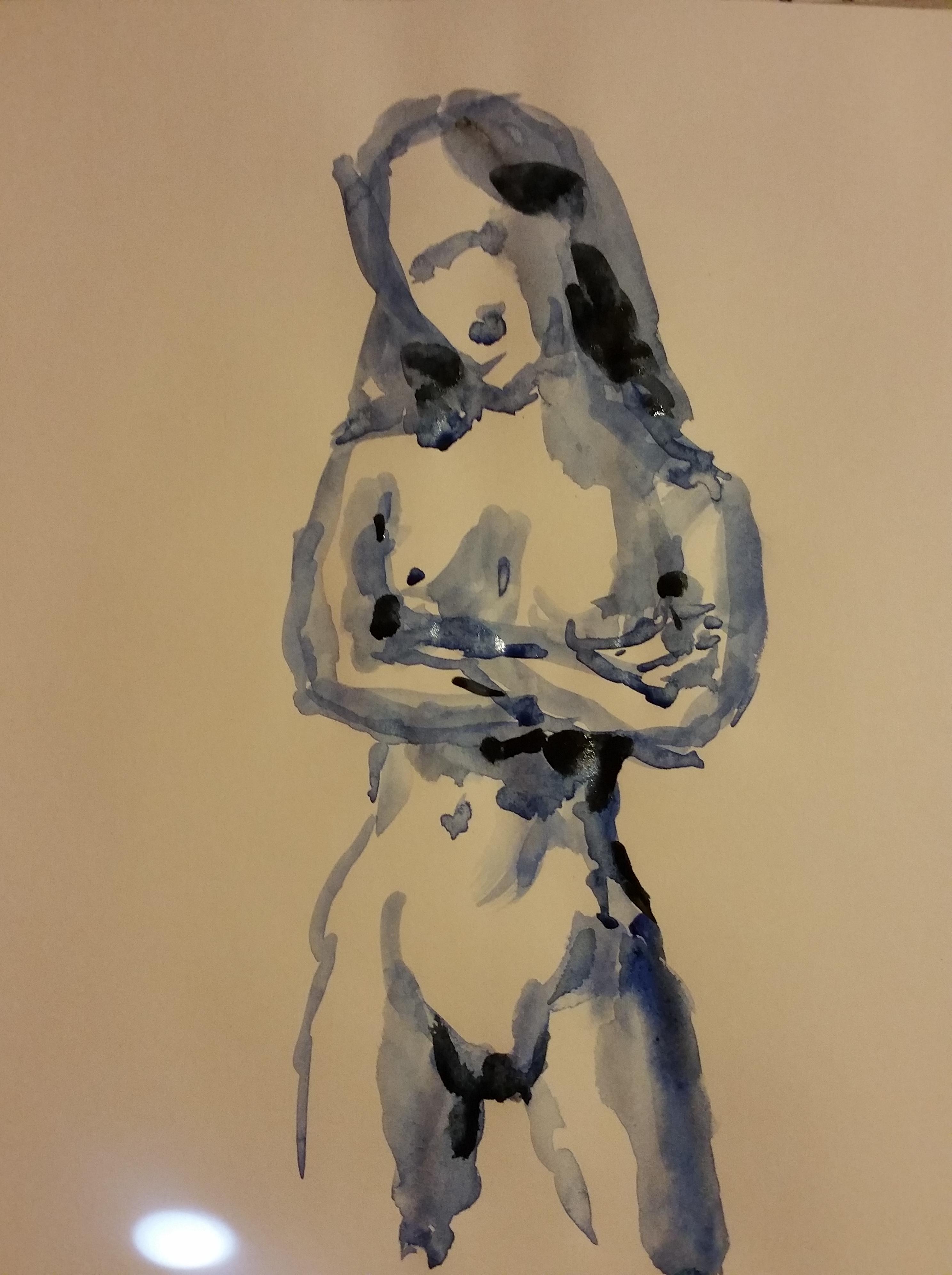 Dessin aquarelle face bleue femme bras crois�e nue  cours de dessin