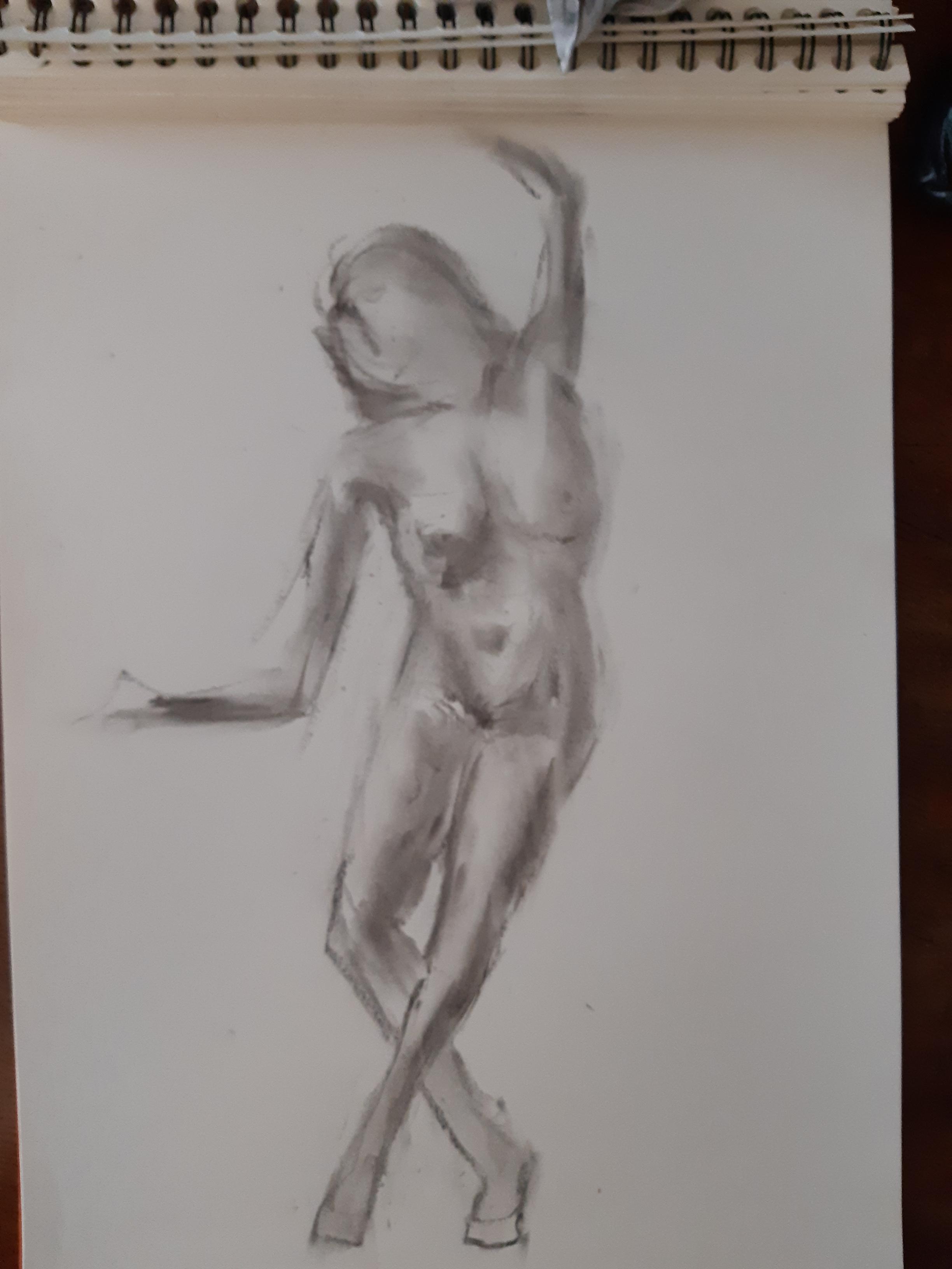 Dessin estompe danseuse face fusain femme nu  cours de dessin